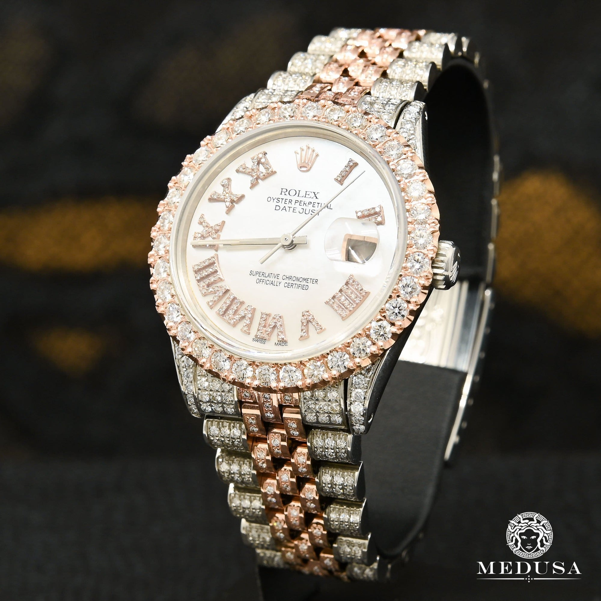 Montre Rolex | Montre Homme Datejust 36mm - Rose 2 Tons Iced Out Or Rose 2 Tons