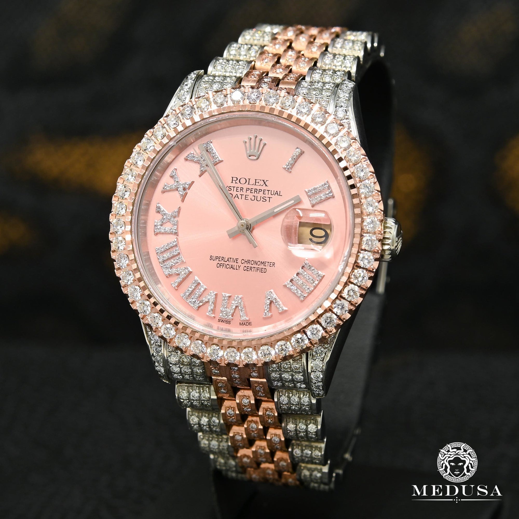 Montre Rolex | Montre Homme Datejust 36mm - Rose Dial Iced Out Or Rose 2 Tons
