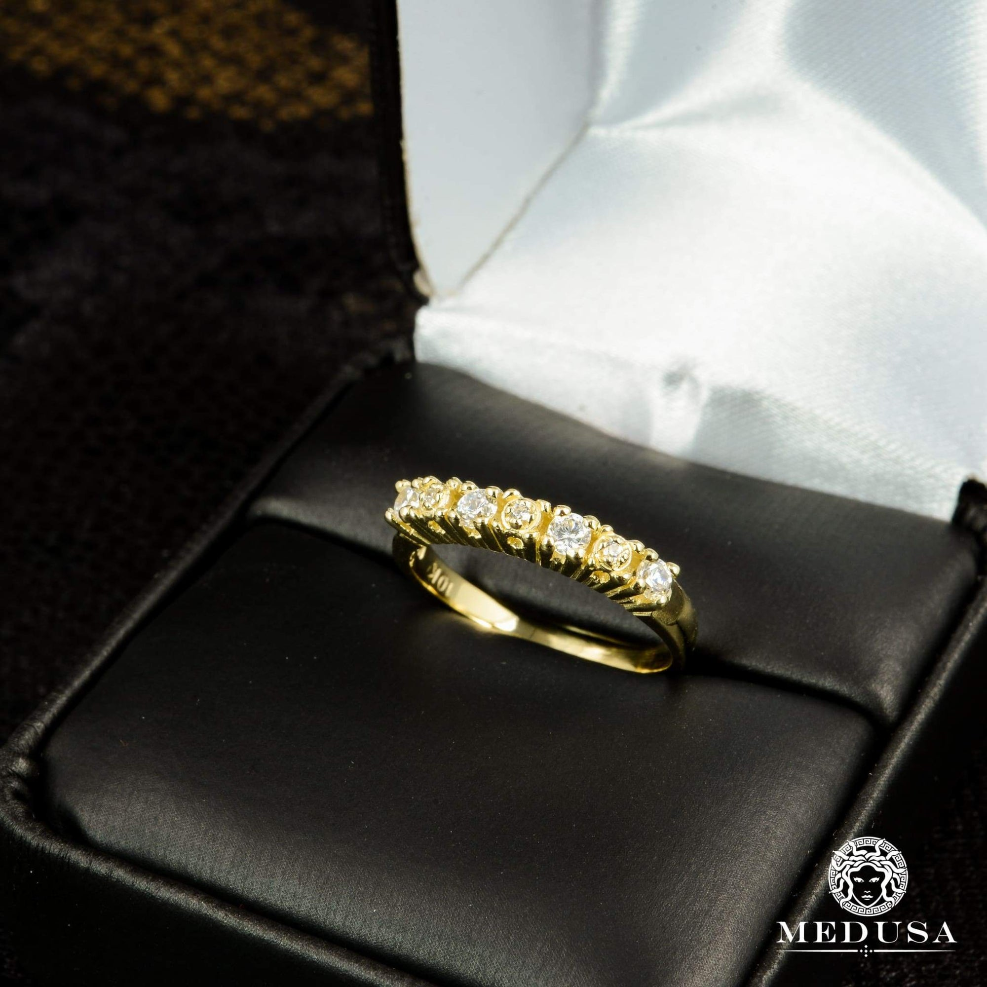 Bague à Diamants en Or 14K | Bague Fiançaille Eternity F17 - MA0245 Or Jaune
