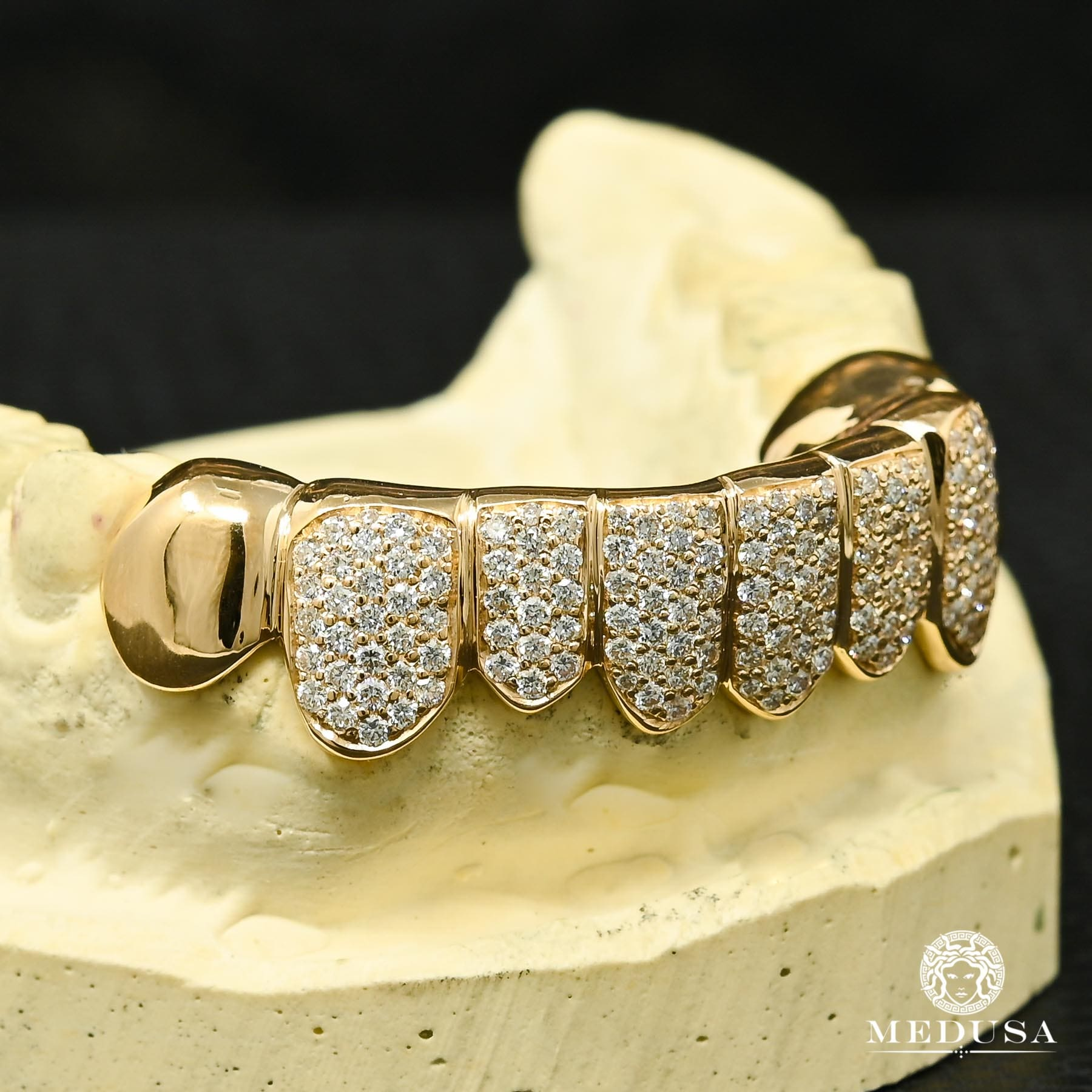 Grillz Custom en Or | Grillz Grillz 8 Dents Diamant PermaCut - Yellow