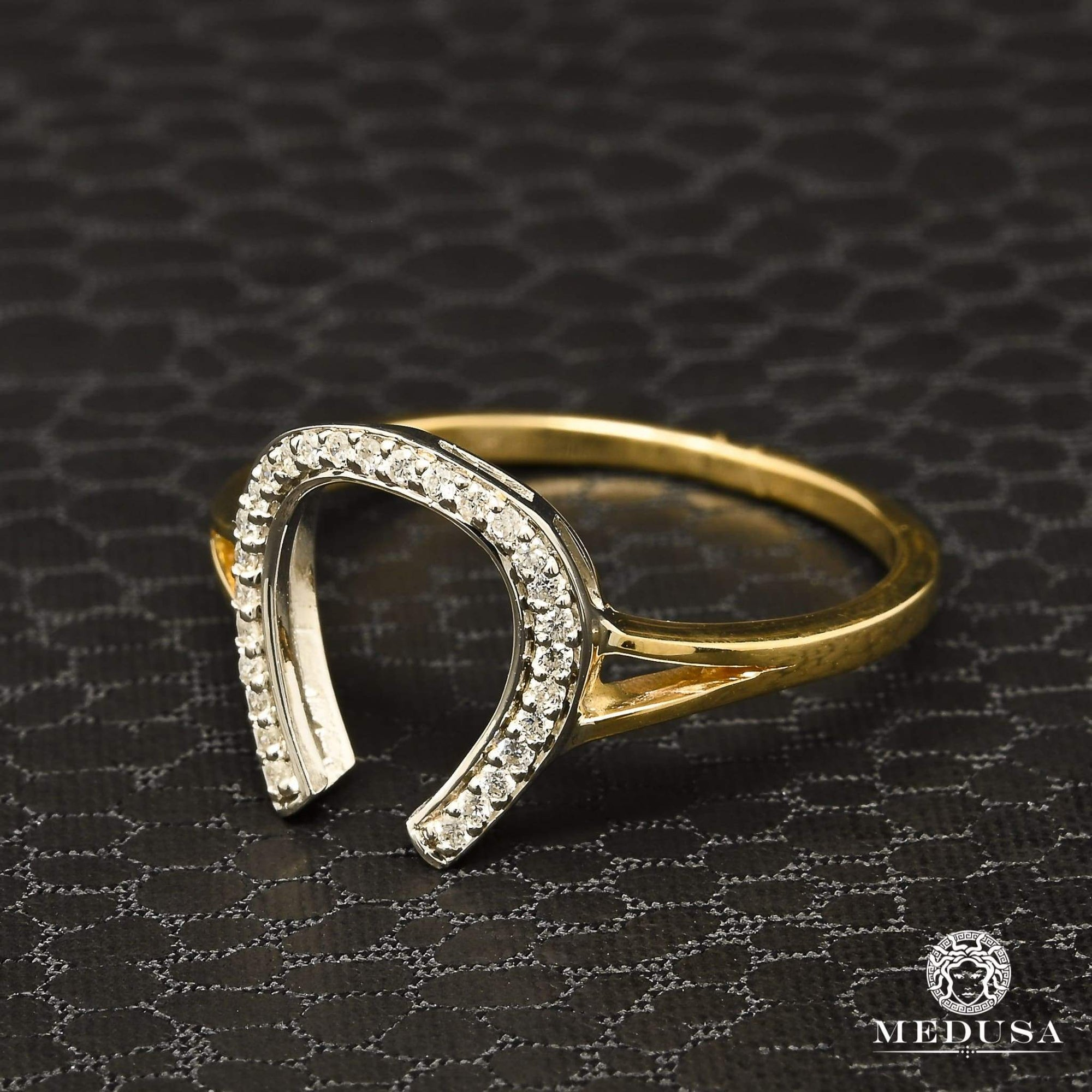 Bague à Diamants en Or 14K | Bague Femme Horse D1 - Diamant 10PT / Or 2 Tons
