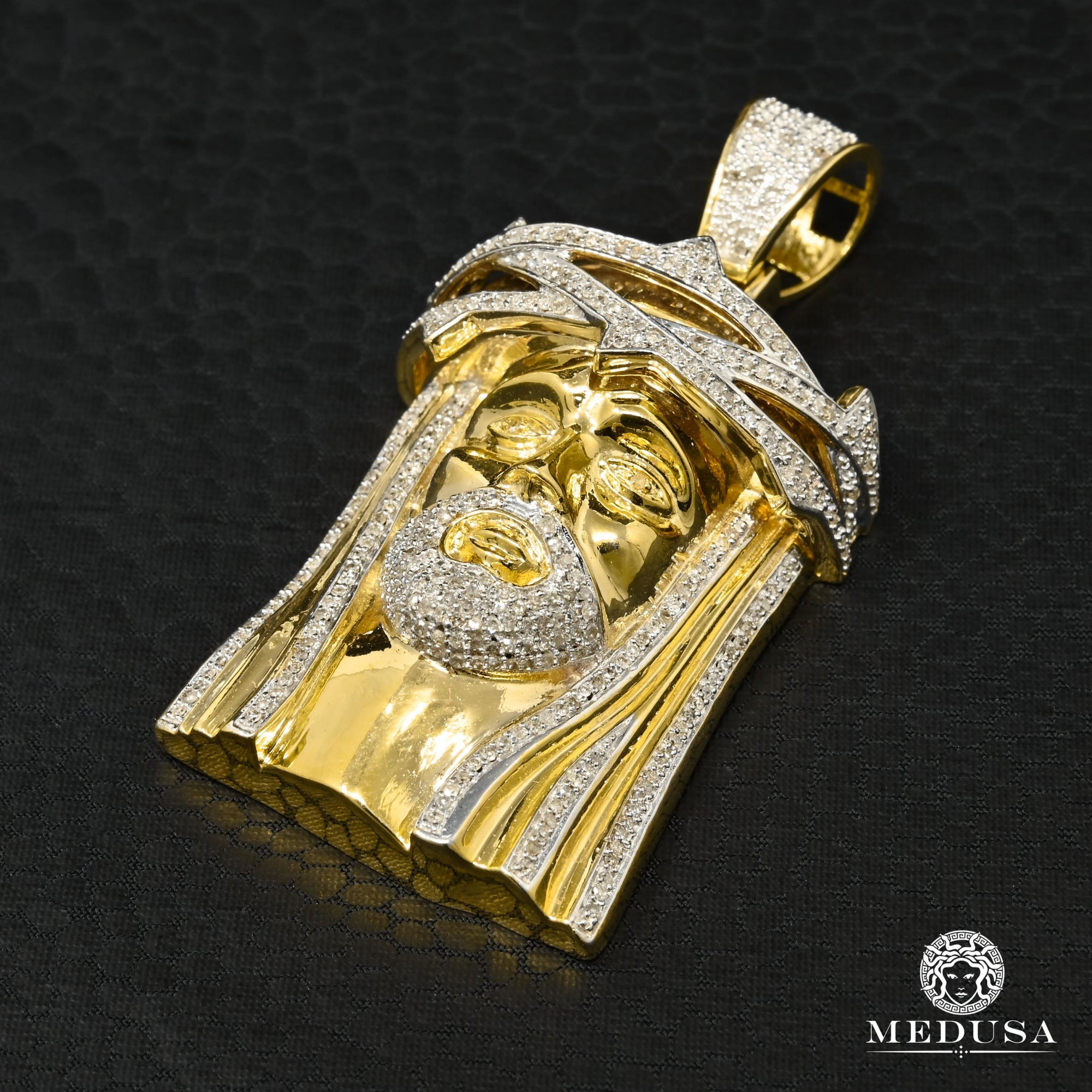 Pendentif à Diamants en Or 10K | Pendentif Divers Jesus D6 - Diamant Or 2 Tons