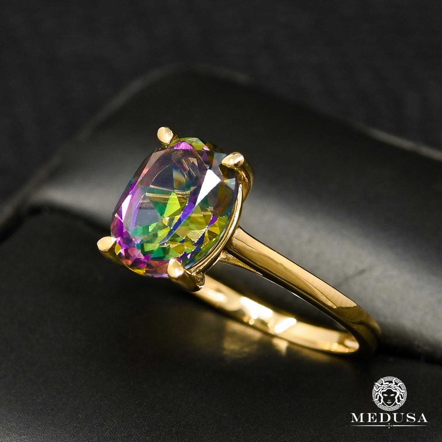 Bague à Diamants en Or 10K | Bague Femme Mystic Topaz D1 - Diamant Or Jaune