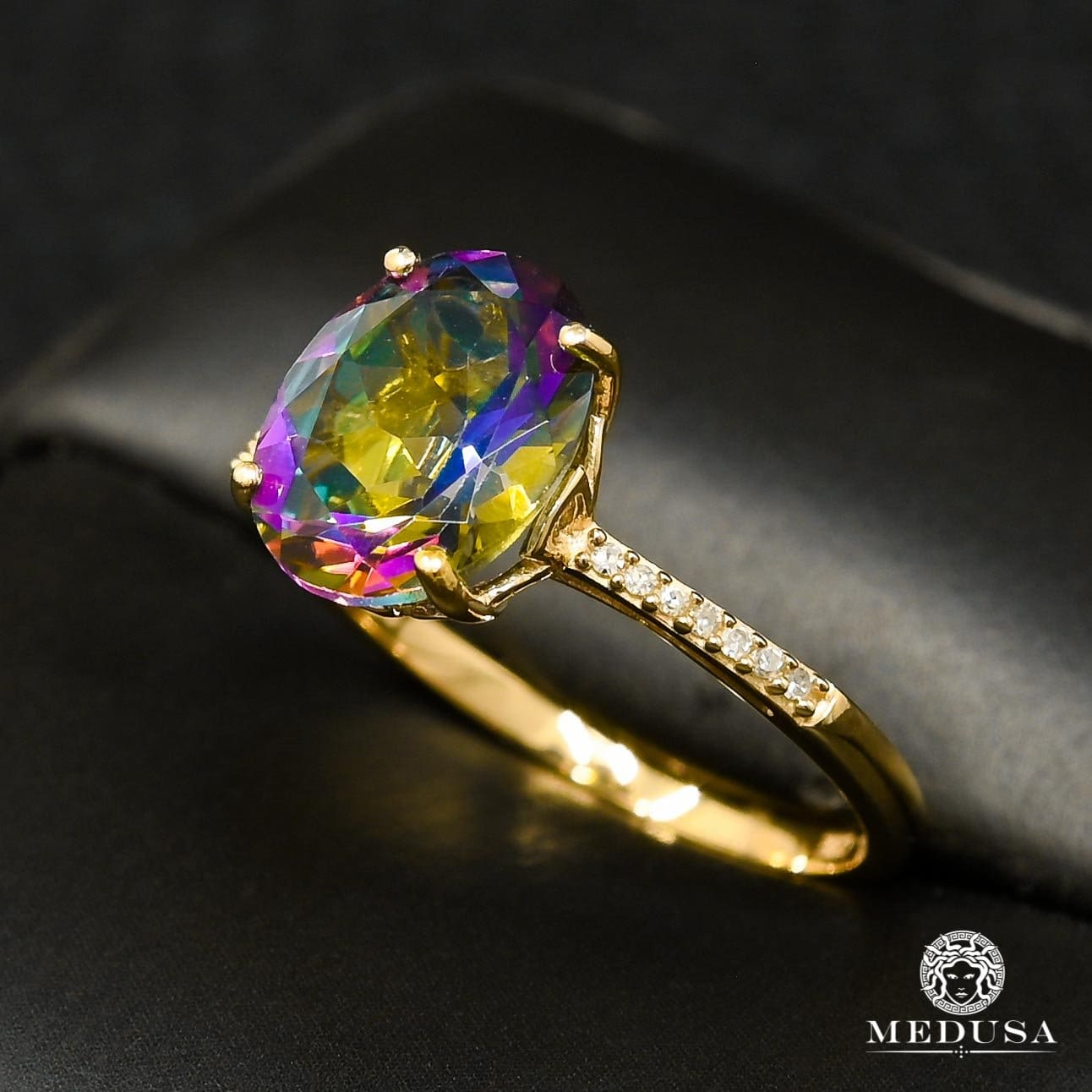 Bague à Diamants en Or 10K | Bague Femme Mystic Topaz D3 - Diamant Or Jaune