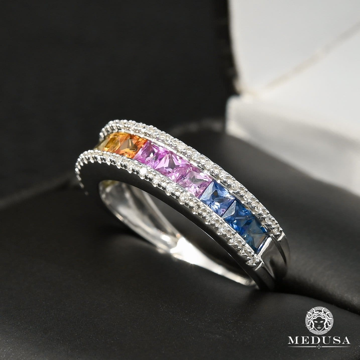Bague à Diamants en Or 10K | Bague Femme Rainbow F1 - Saphir Or Blanc