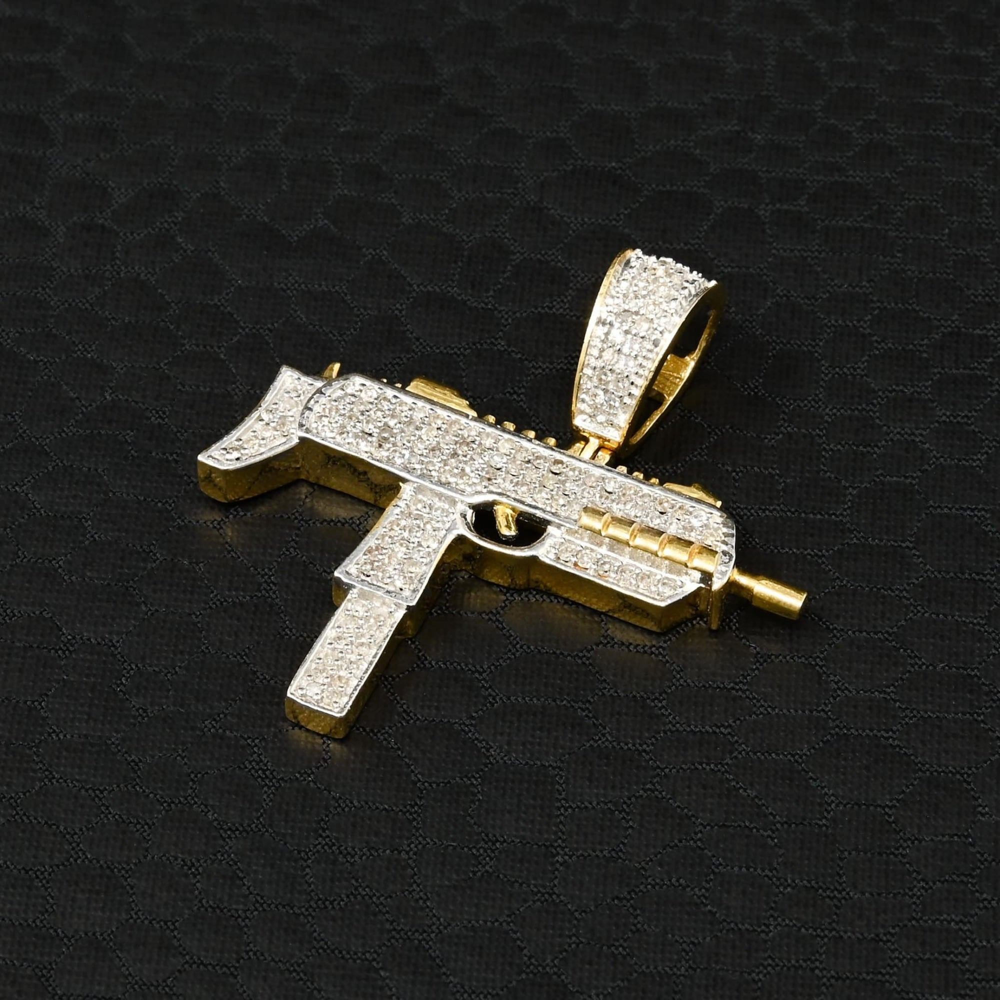 Pendentif à Diamants en Or 10K | Pendentif Divers Rifle D2 - Diamant Or 2 Tons