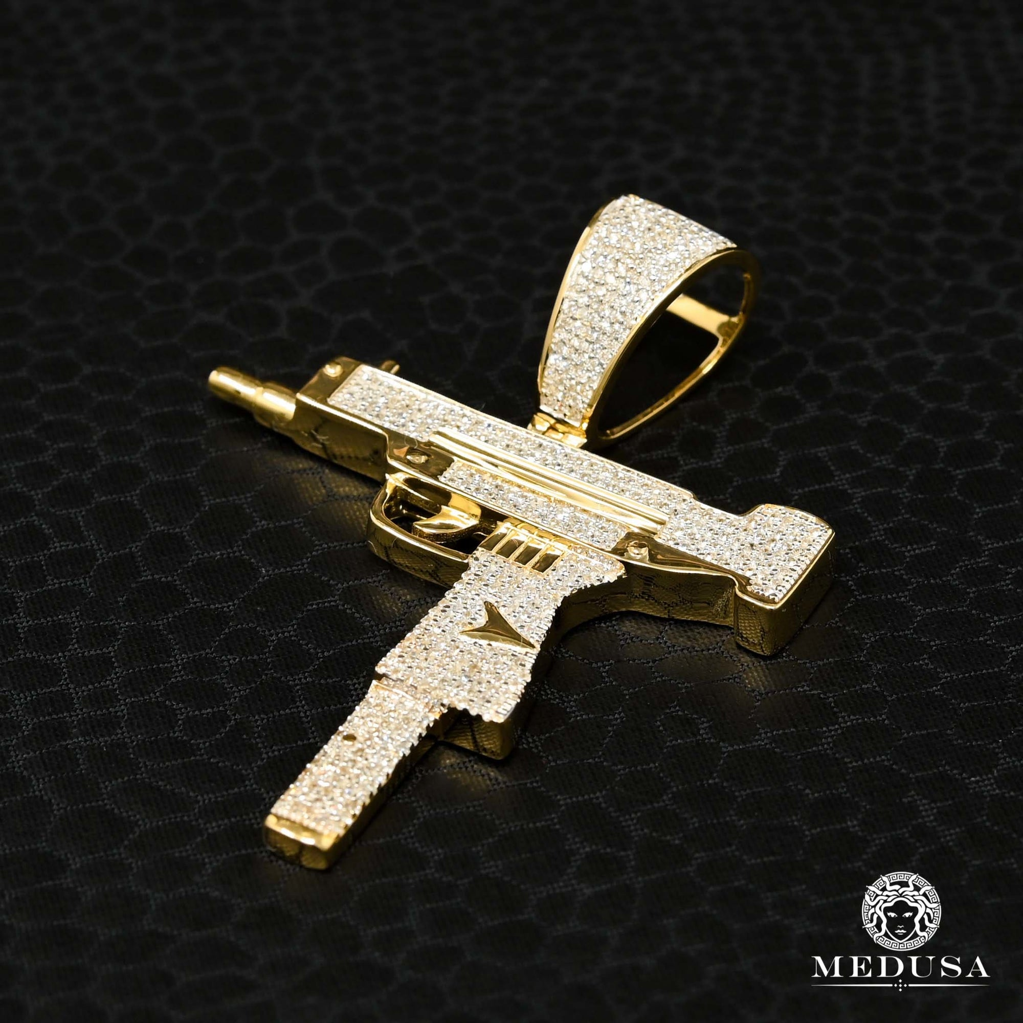 Pendentif à Diamants en Or 10K | Pendentif Divers Rifle D6 - Diamant Or Jaune