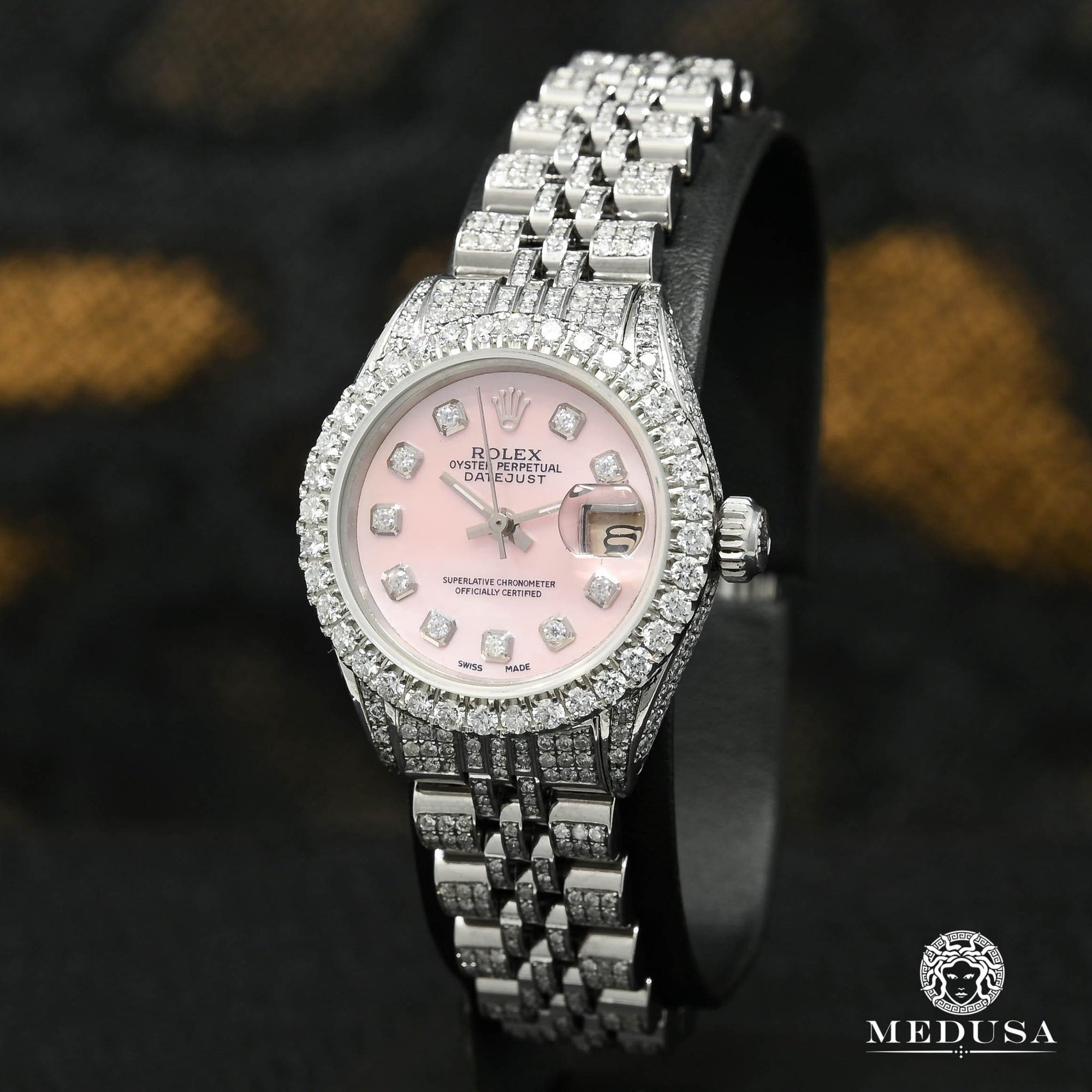 Rolex watch | Rolex Datejust 26mm Woman Watch - Pink Stainless Iced Stainless