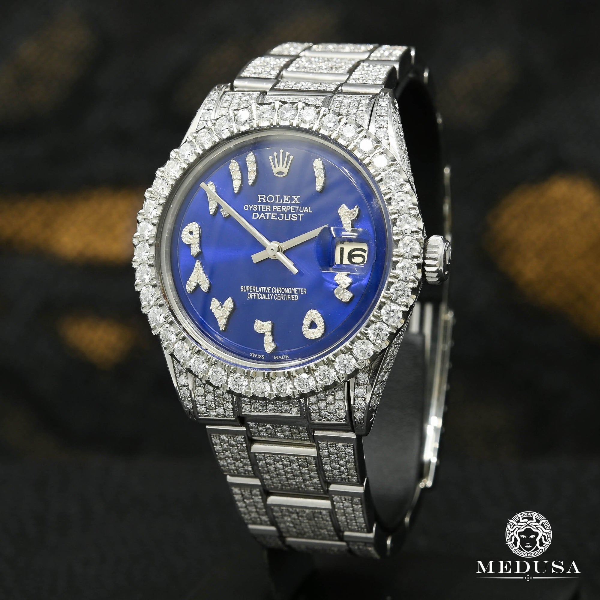 Rolex Datejust 36mm - Arabic Blue Oyster Iced