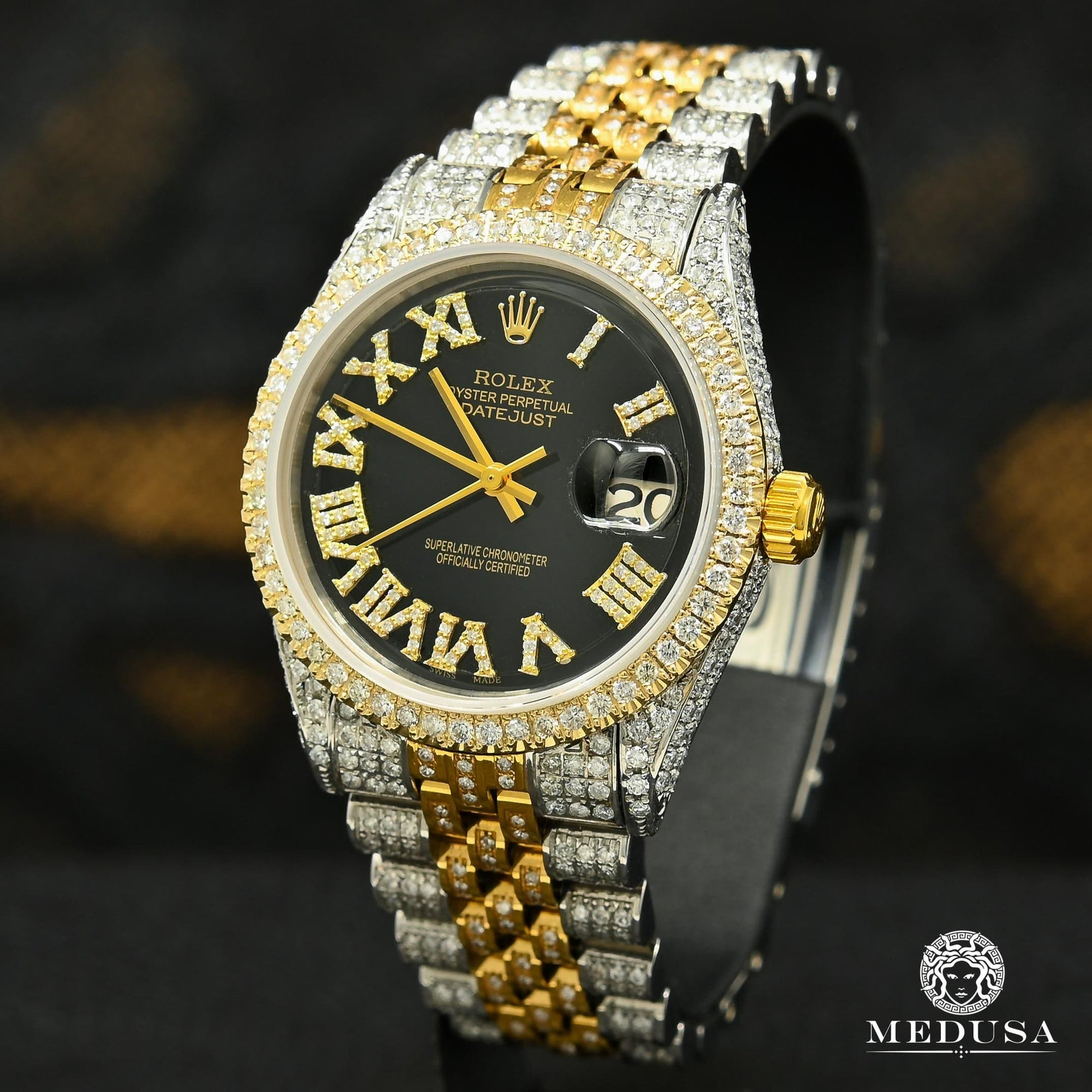 Montre Rolex | Montre Homme Rolex Datejust 36mm - Black Iced Out Or 2 Tons