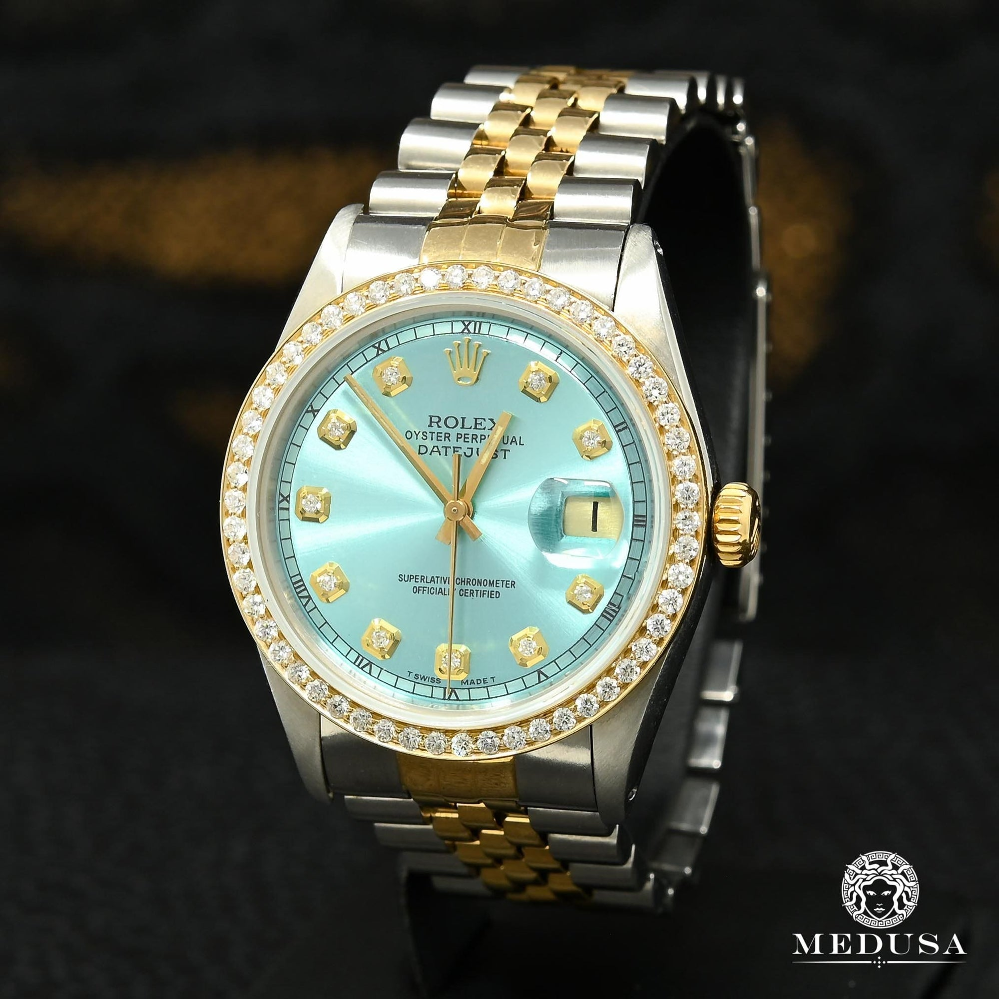 Montre Rolex | Montre Homme Rolex Datejust 36mm - Cyan Vintage Or 2 Tons