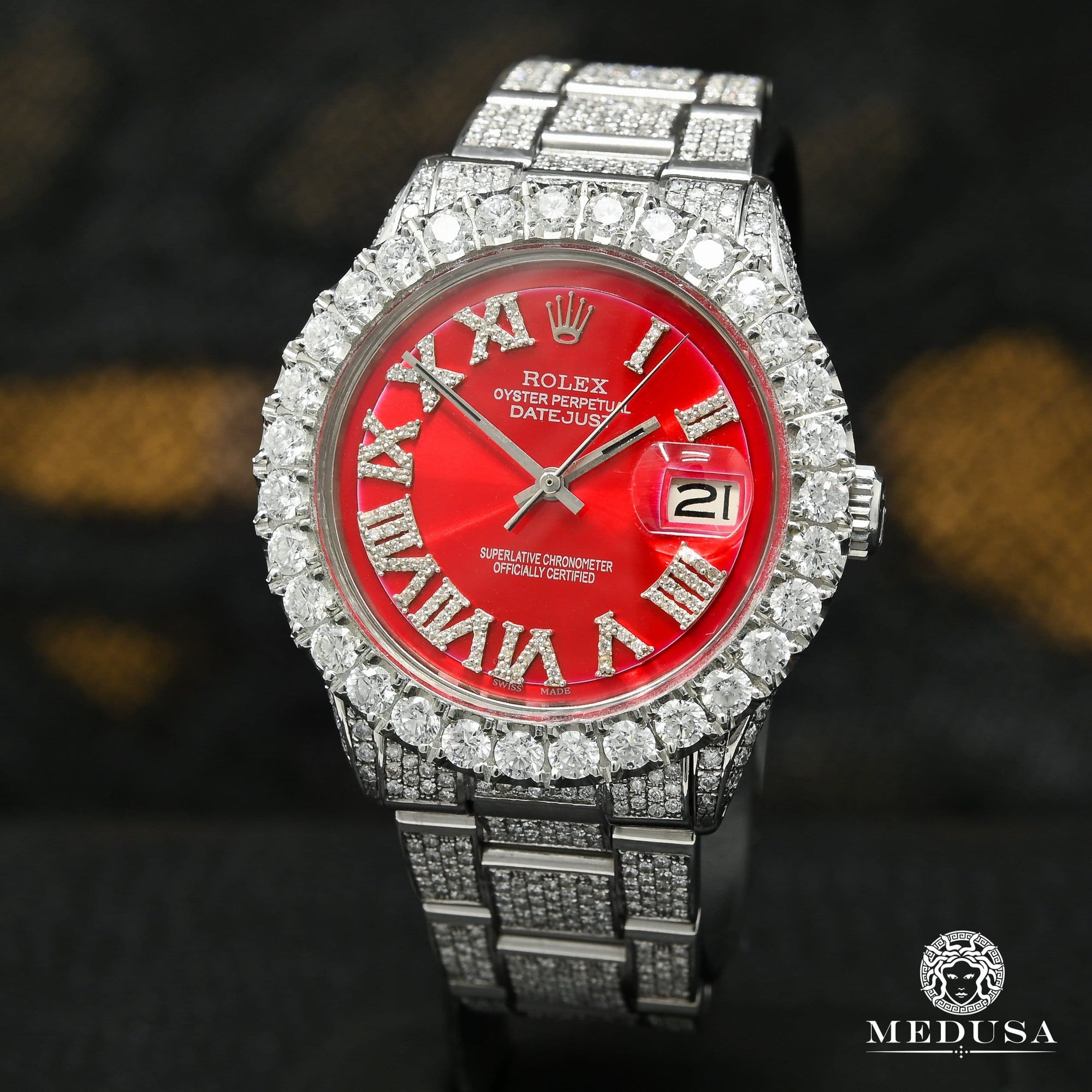 Rolex Datejust 36mm - Full Iced Red Oyster