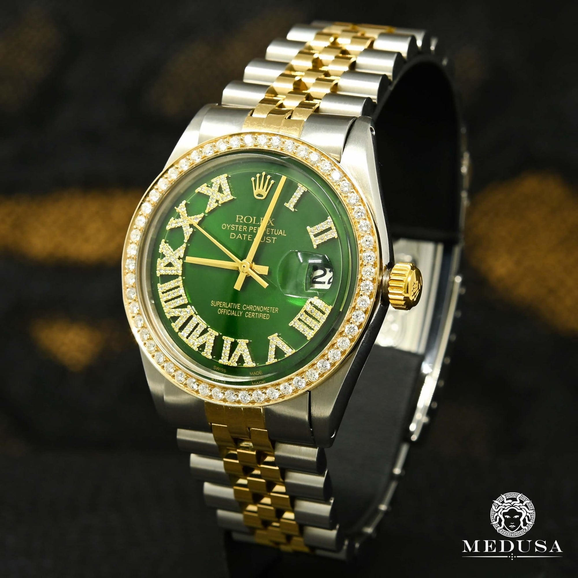 Montre Rolex | Montre Homme Rolex Datejust 36mm - Green Vintage Or 2 Tons