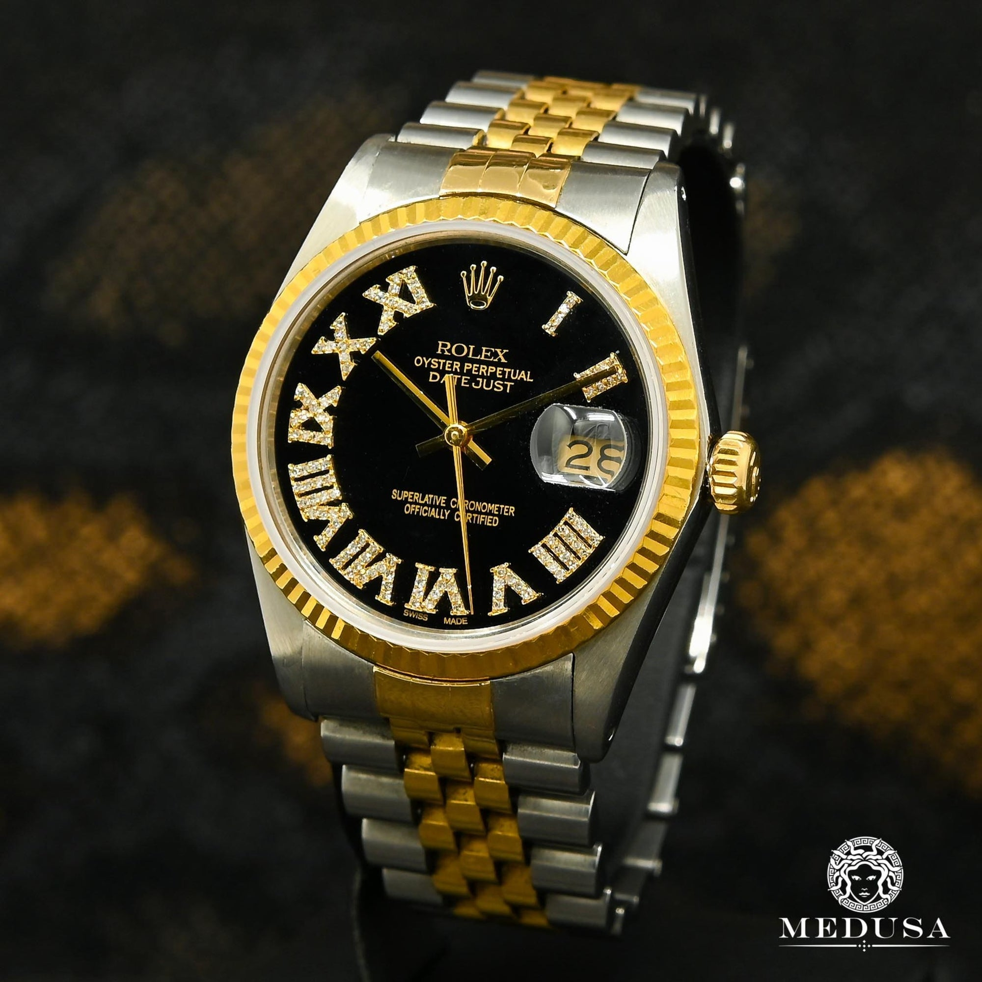 Montre Rolex | Montre Homme Rolex Datejust 36mm - Noir Romain Or 2 Tons