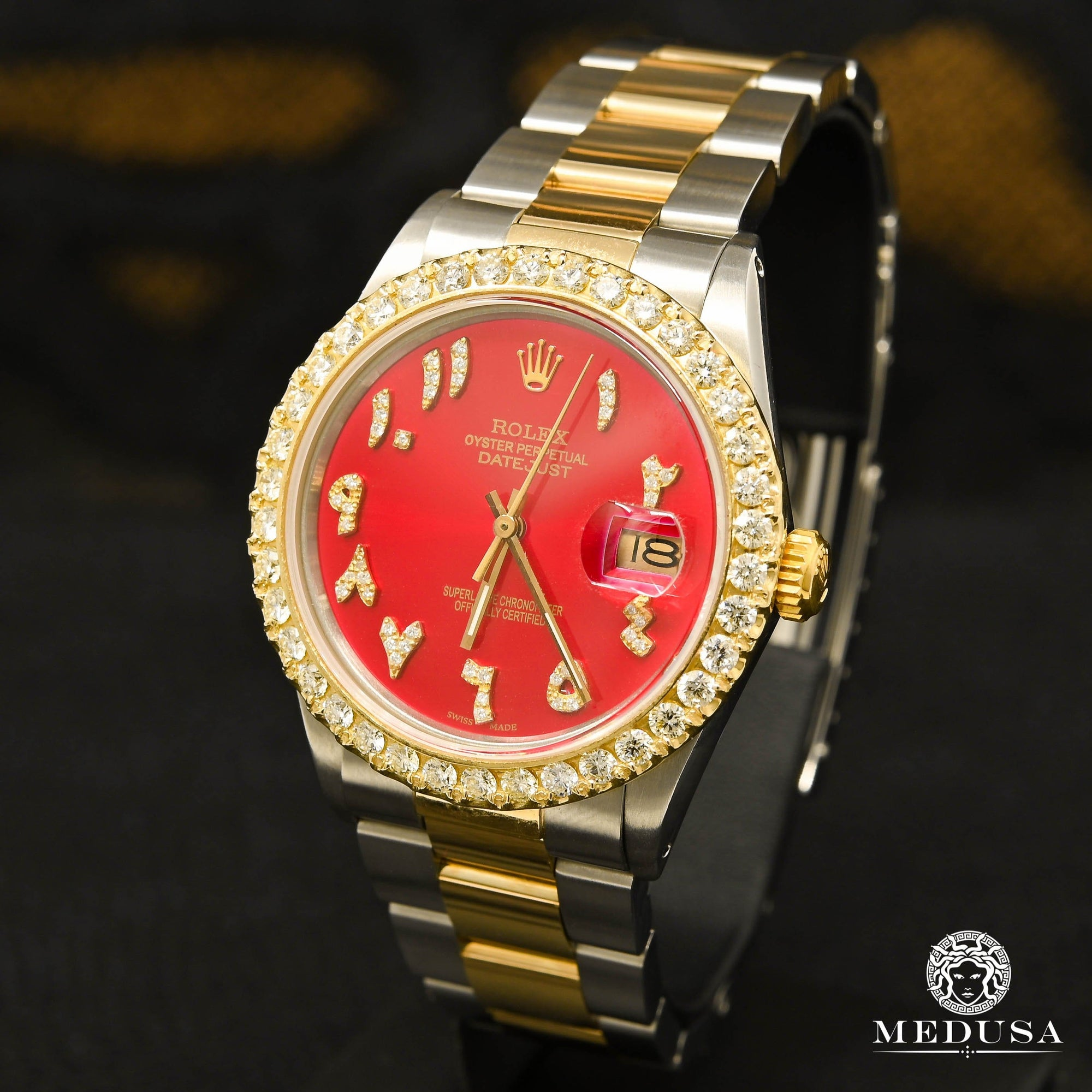 Montre Rolex | Montre Homme Rolex Datejust 36mm - Red Arabic Or 2 Tons