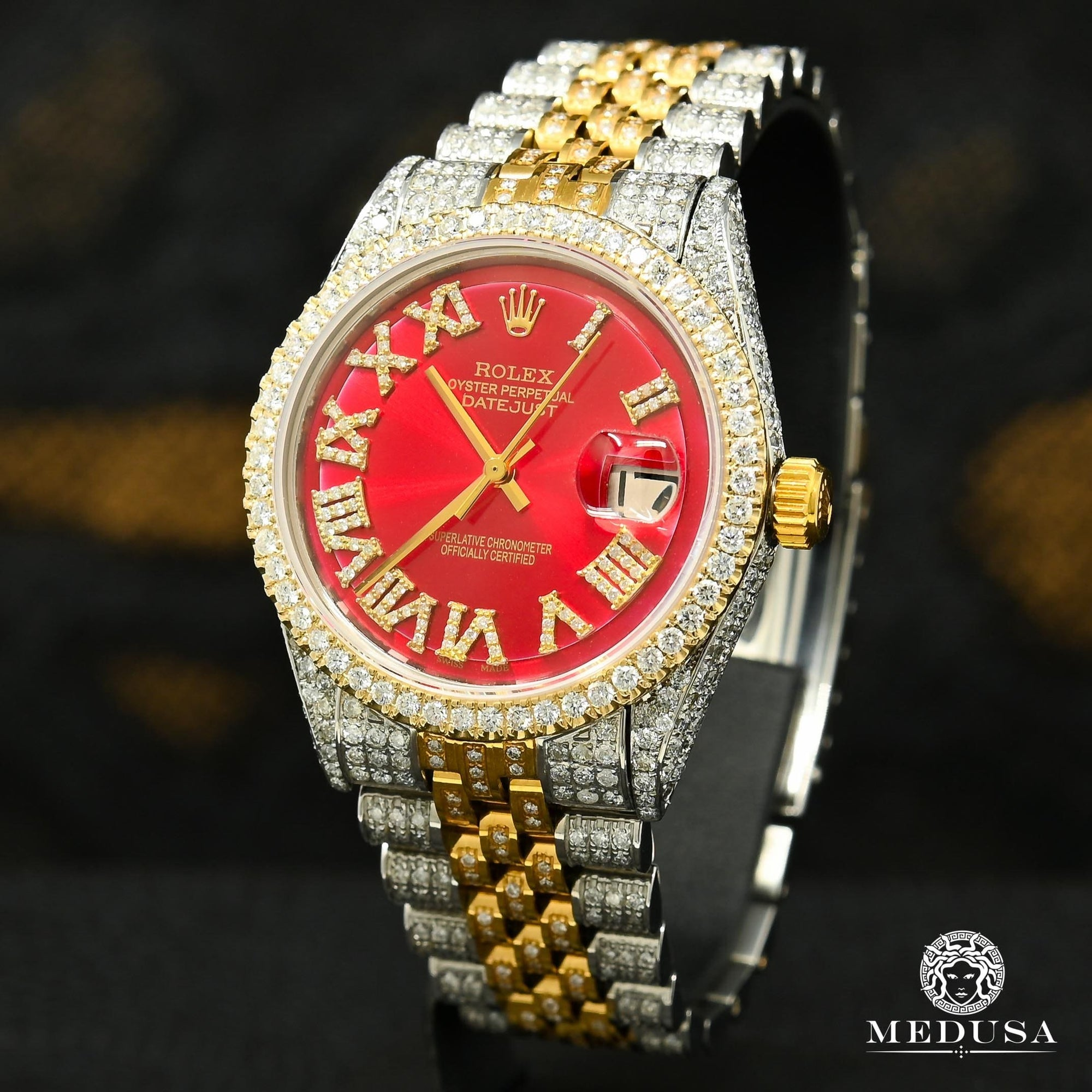 Rolex Datejust 36mm - Red Iced Out