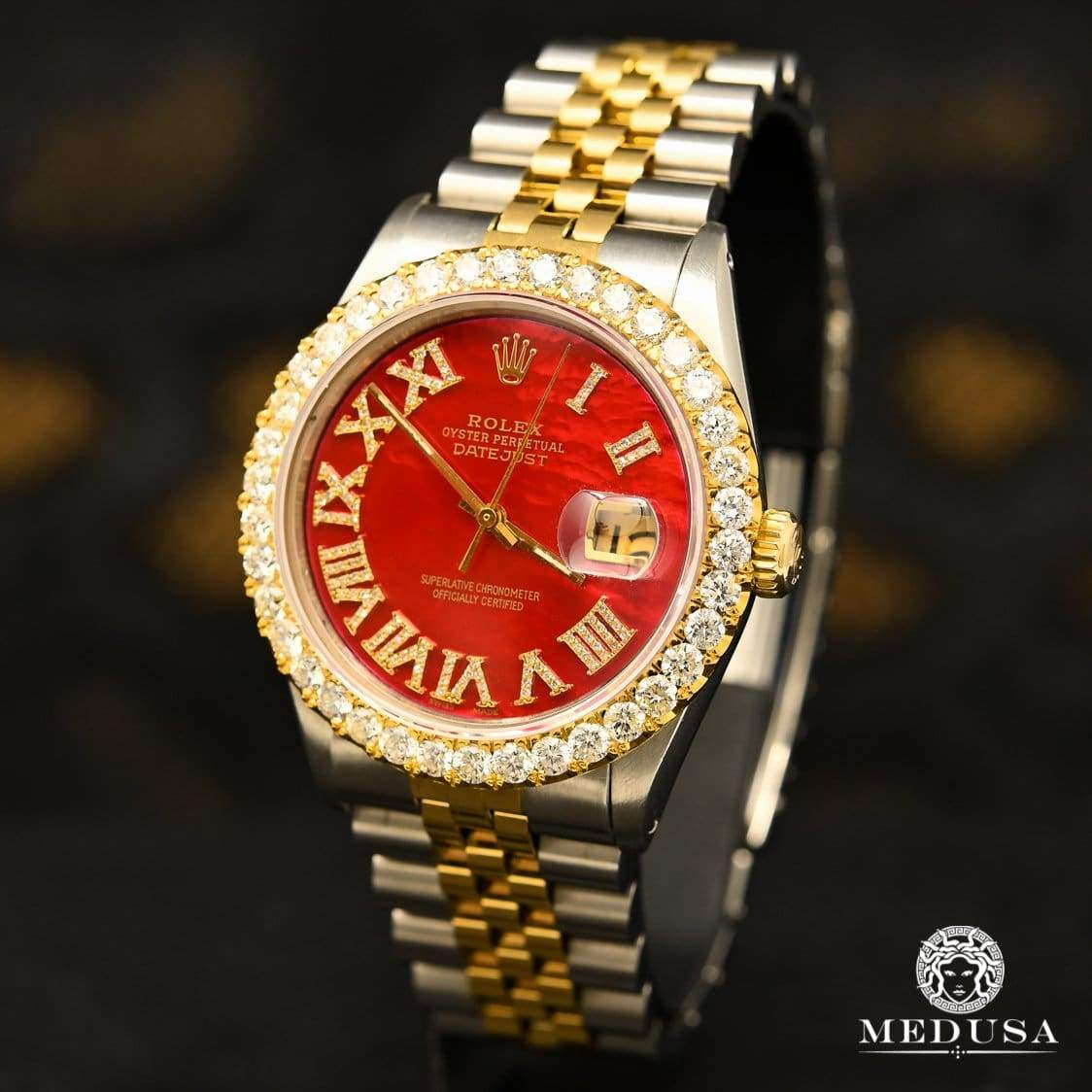36mm Datejust Diamant In-Stock Jubilee - Rolex Datejust 36mm - Rouge Chiffre Romain Montre Homme Bijoux Medusa - Canada Quebec Chicoutimi