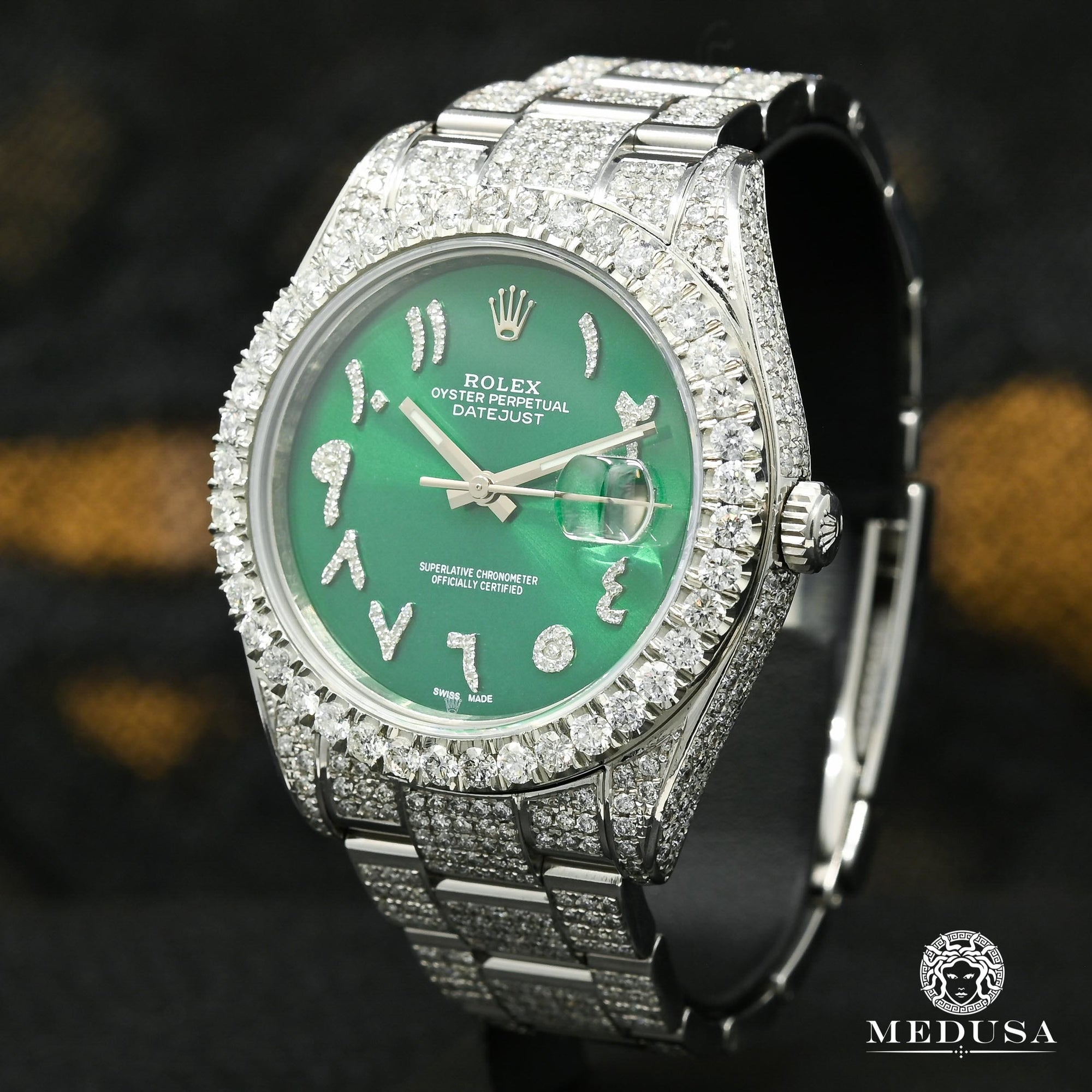 Rolex Datejust 41mm - Green Arabic Full Iced