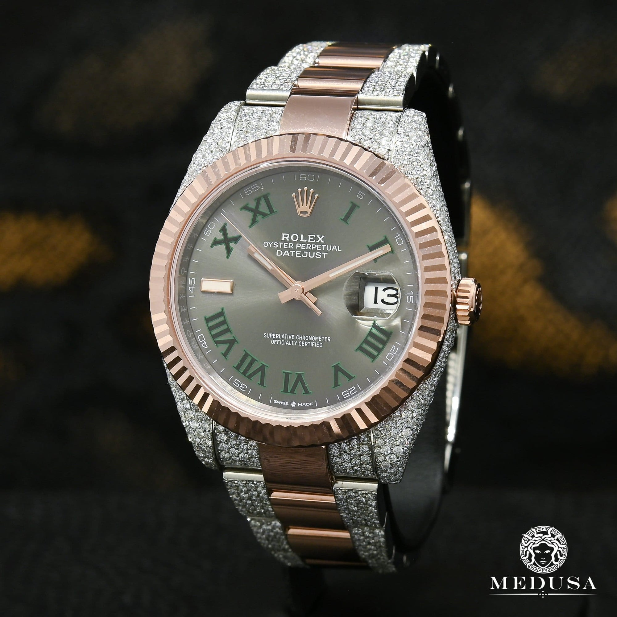 Rolex Datejust 41mm - Wimbledon Fluted Everose Iced