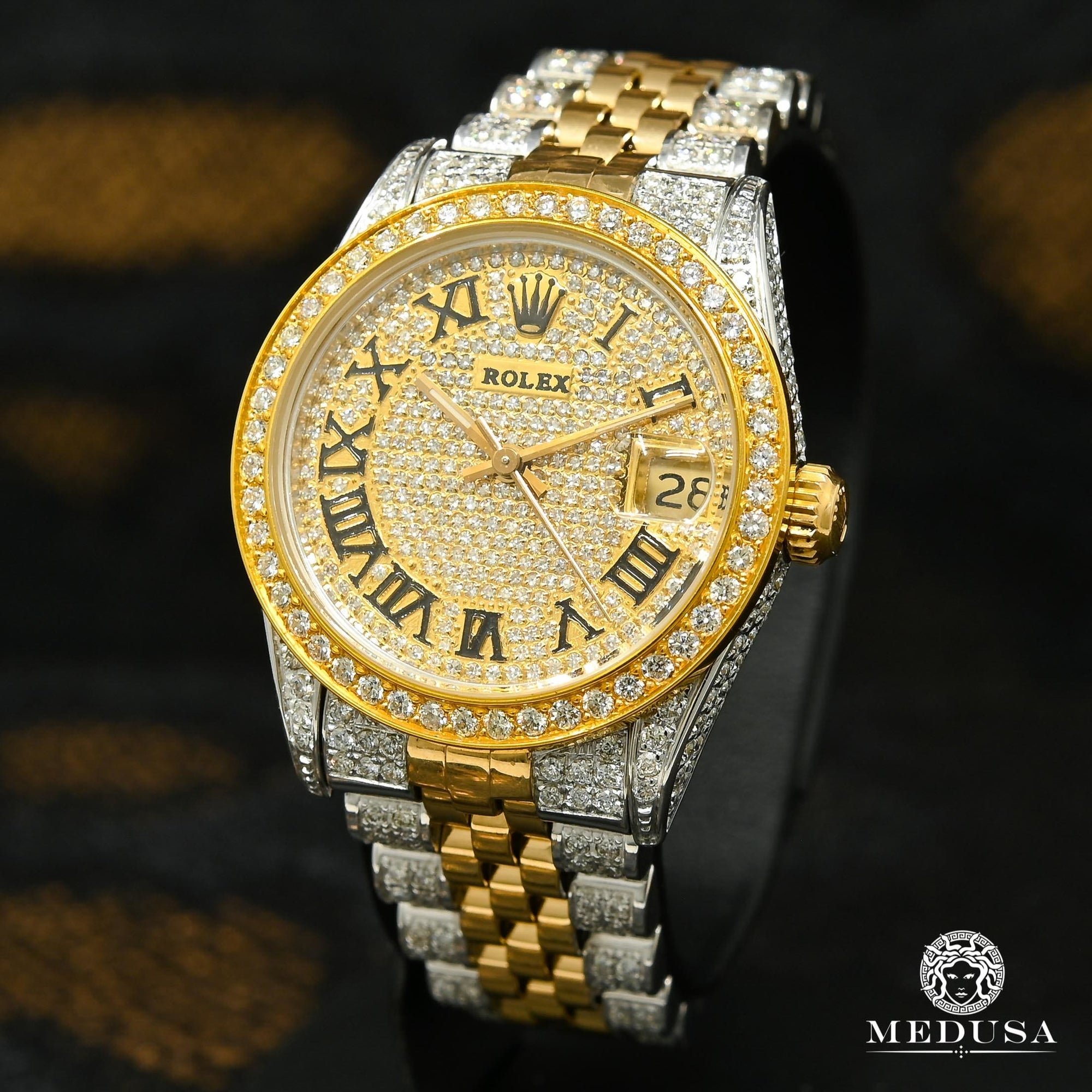 Rolex watch Women's Watch Rolex Lady-Datejust 31mm - Iced Out Gold 2 Tons