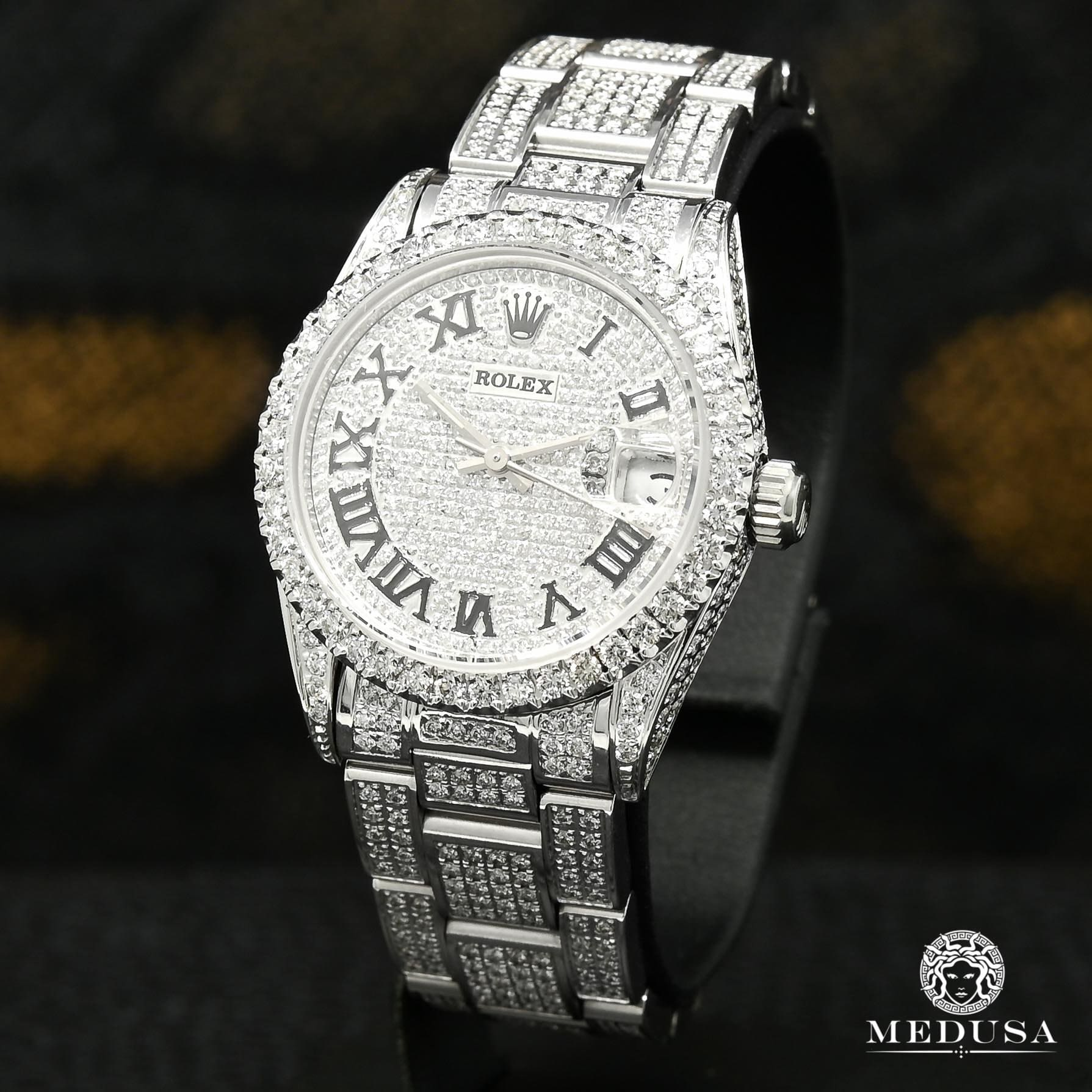 Montre Rolex | Montre Femme Rolex Oyster Perpetual Date 31mm - Full Iced Out Stainless
