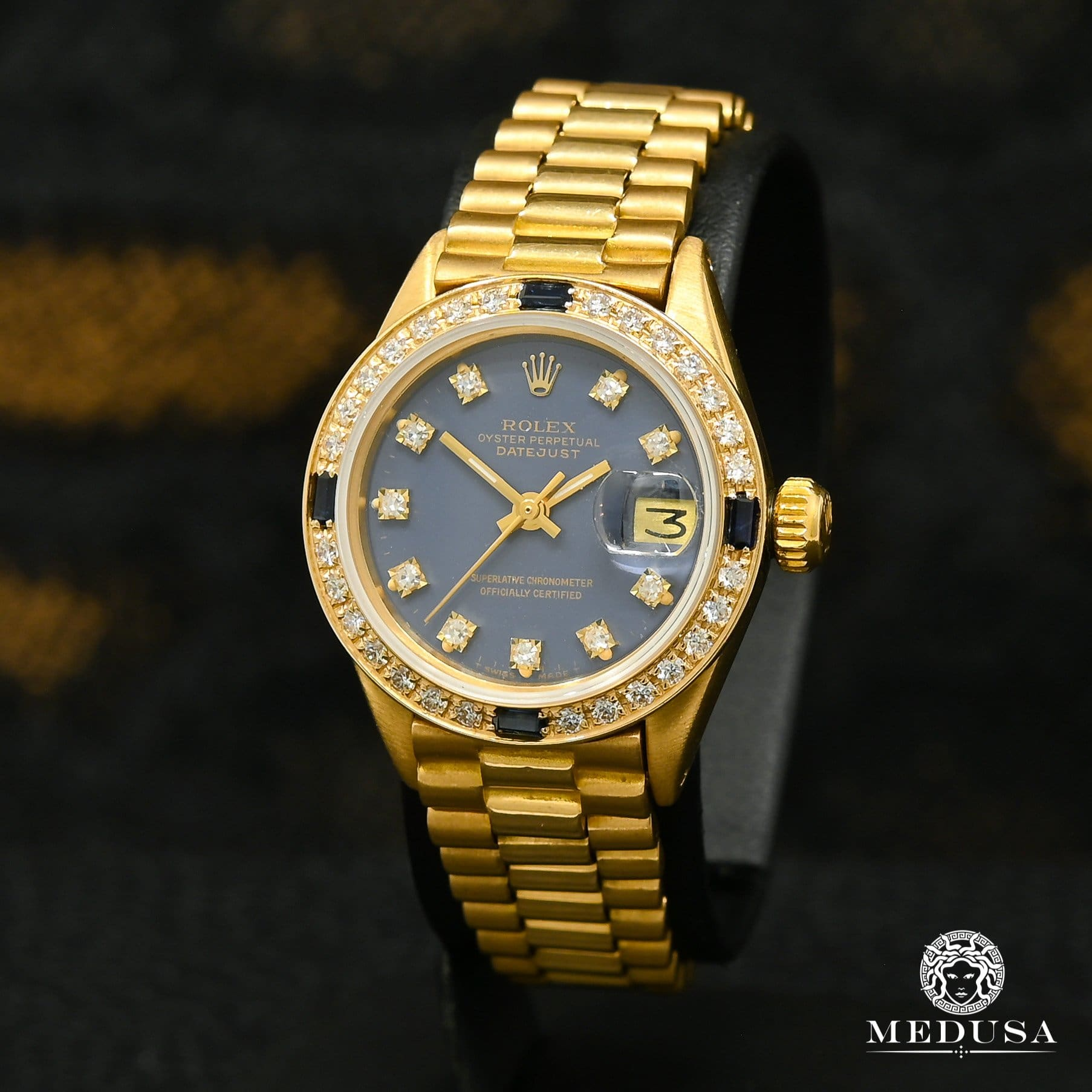 Rolex watch | Rolex President Datejust 26mm Woman Watch - Blue Yellow Gold