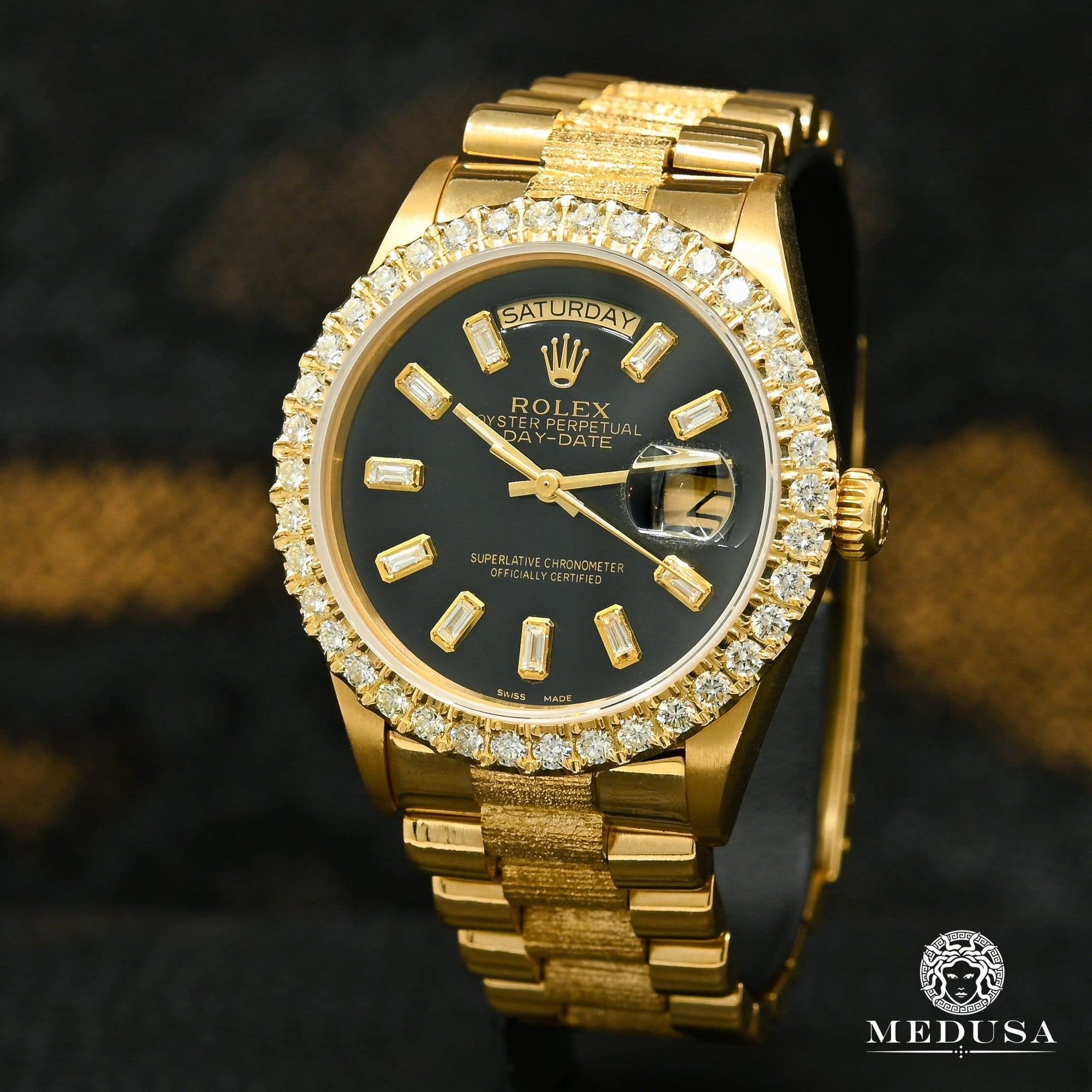 Rolex President Day-Date 36mm - Full Baguette Noir