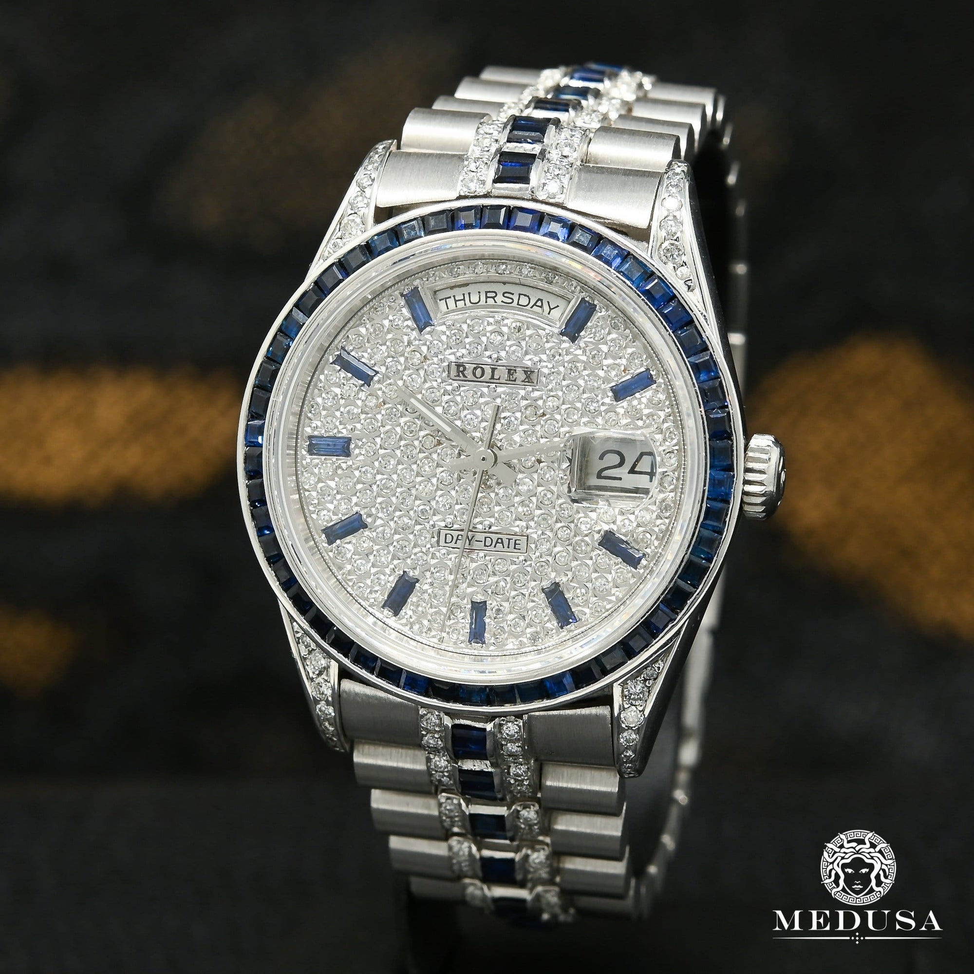 Rolex President Day-Date 36mm - Or Blanc & Saphir