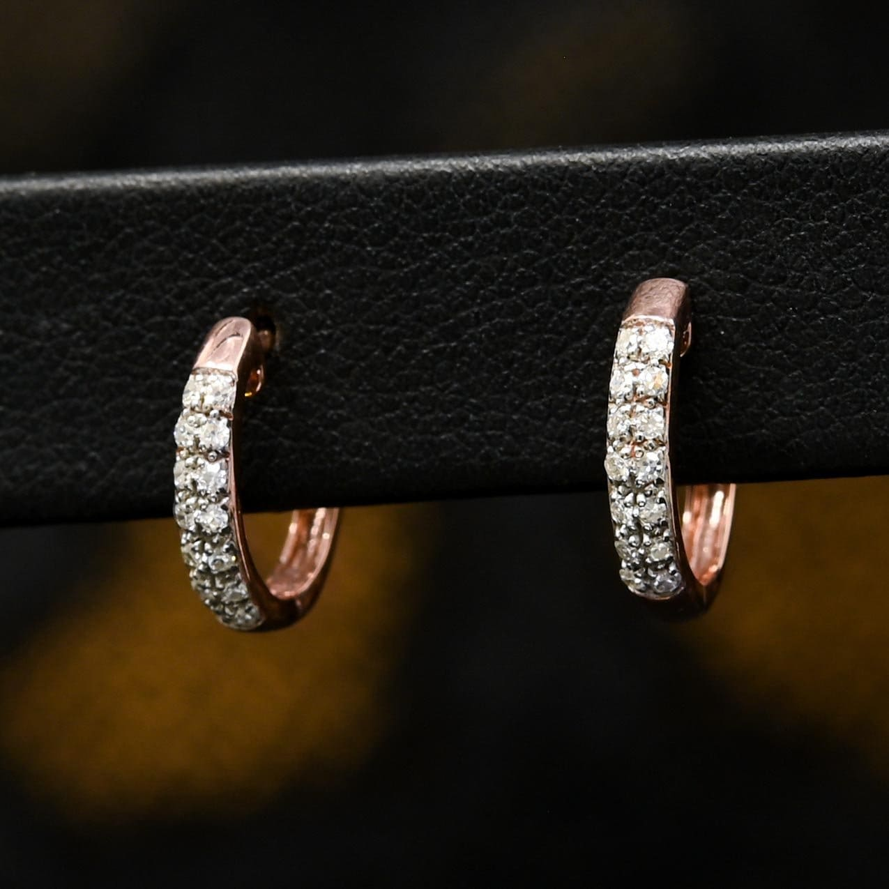 Anneaux Diamants en Or 10K | Boucles d'Oreilles Round D5 - Diamant 15mm / Or Rose