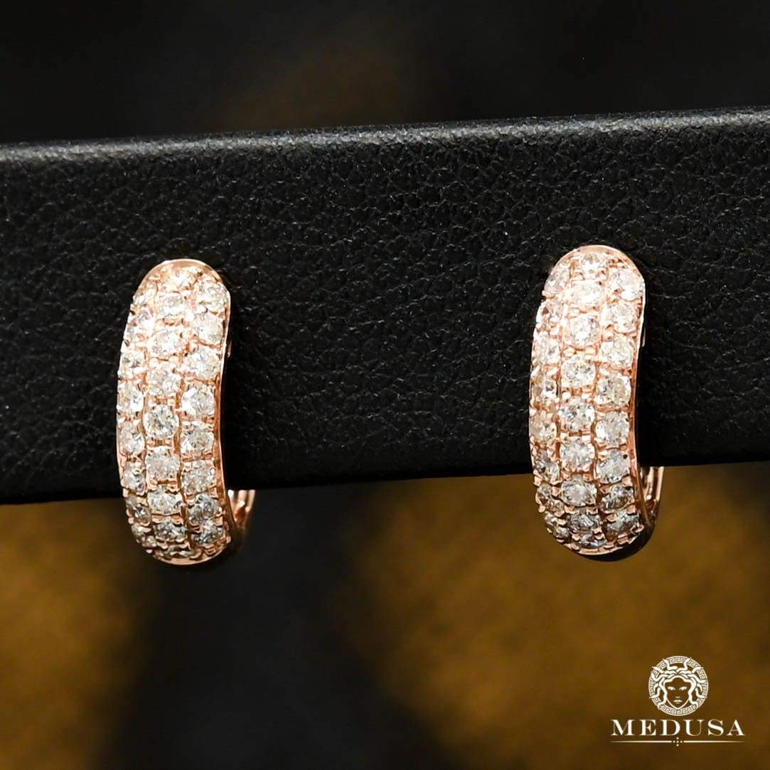 14K Gold Diamond Rings | Round D6 Earrings - Rose Gold Diamond