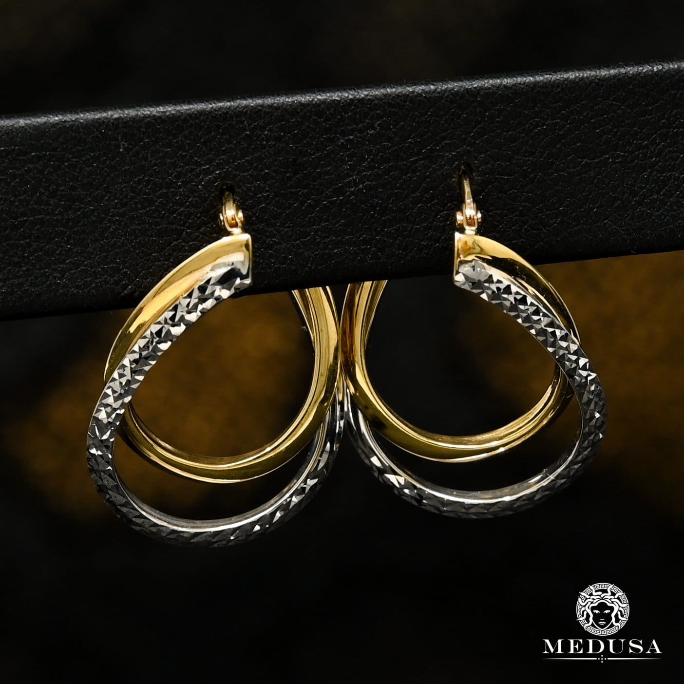 10K Gold Rings | Round F35 2 Tone Gold Earrings