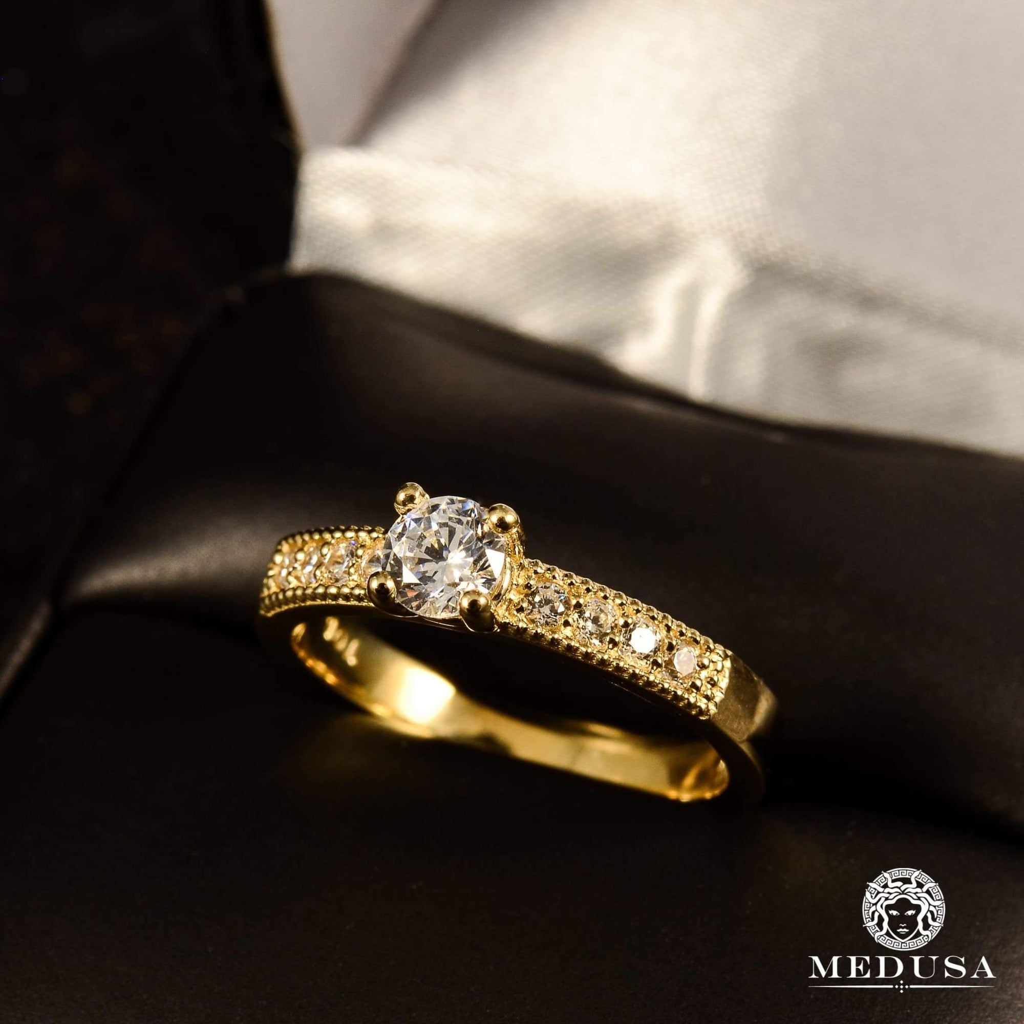 Bague à Diamants en Or 14K | Bague Fiançaille Solitaire F11 - MA0755