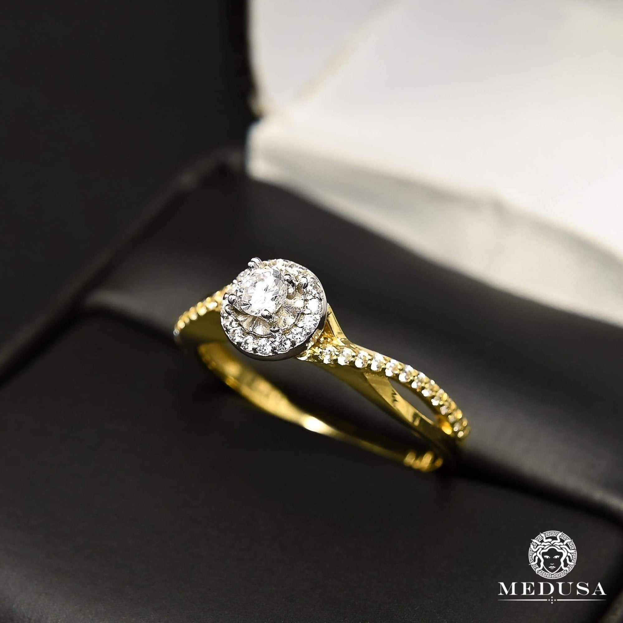 Bague à Diamants en Or 14K | Bague Fiançaille Solitaire F26 - MA0876 Or Jaune