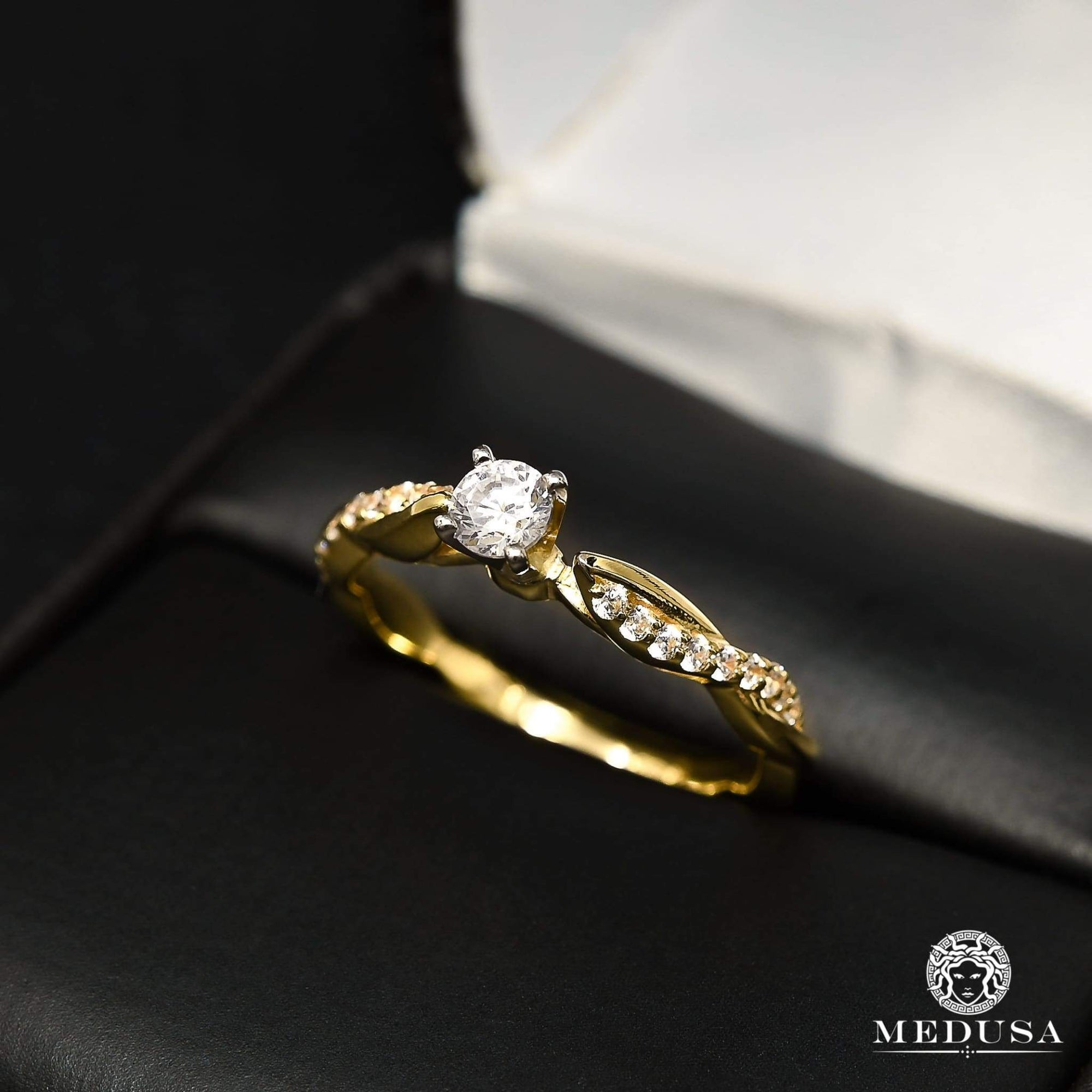 Bague à Diamants en Or 14K | Bague Fiançaille Solitaire F30 - MA0862 Or Jaune