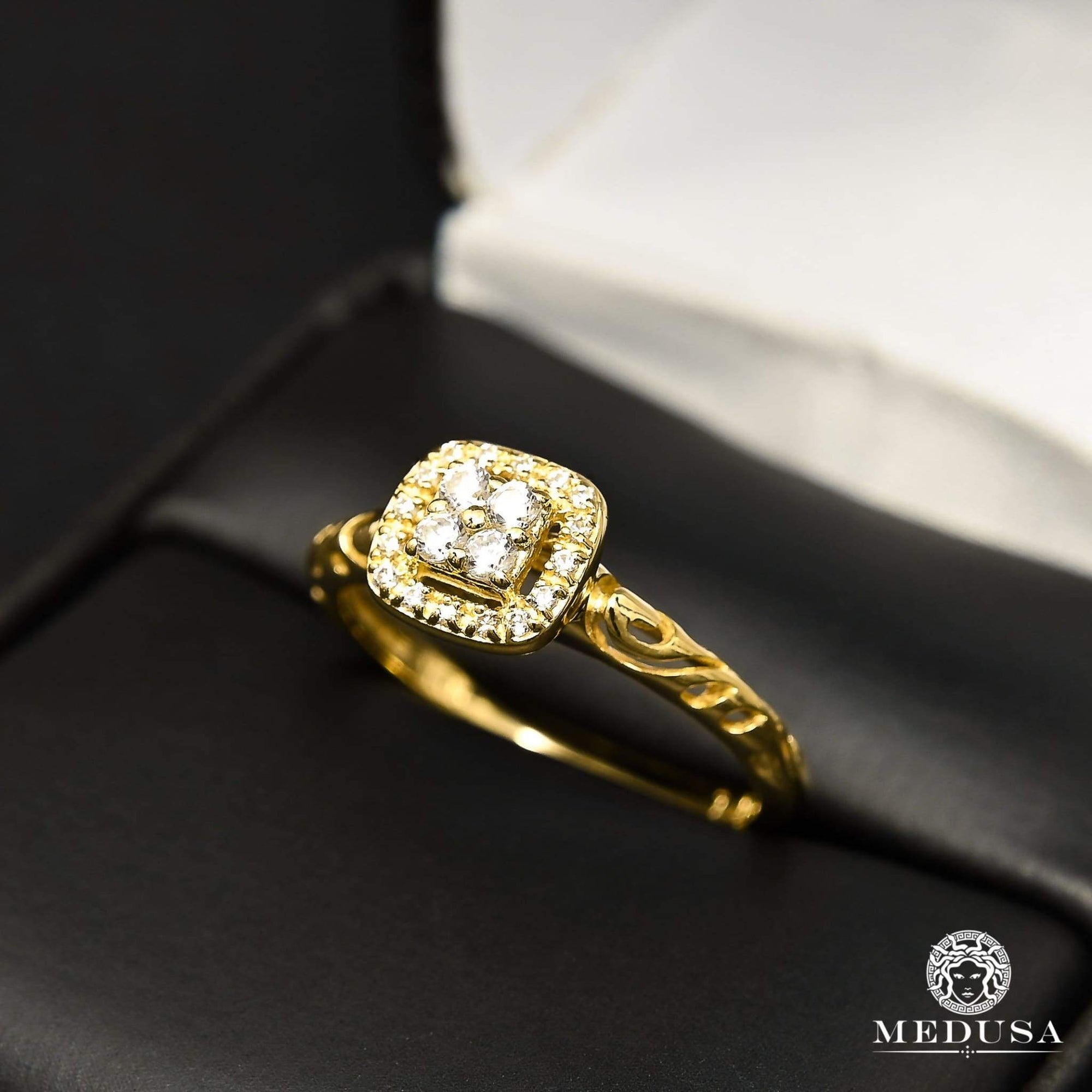 Bague à Diamants en Or 14K | Bague Fiançaille Solitaire F31 - MA0859