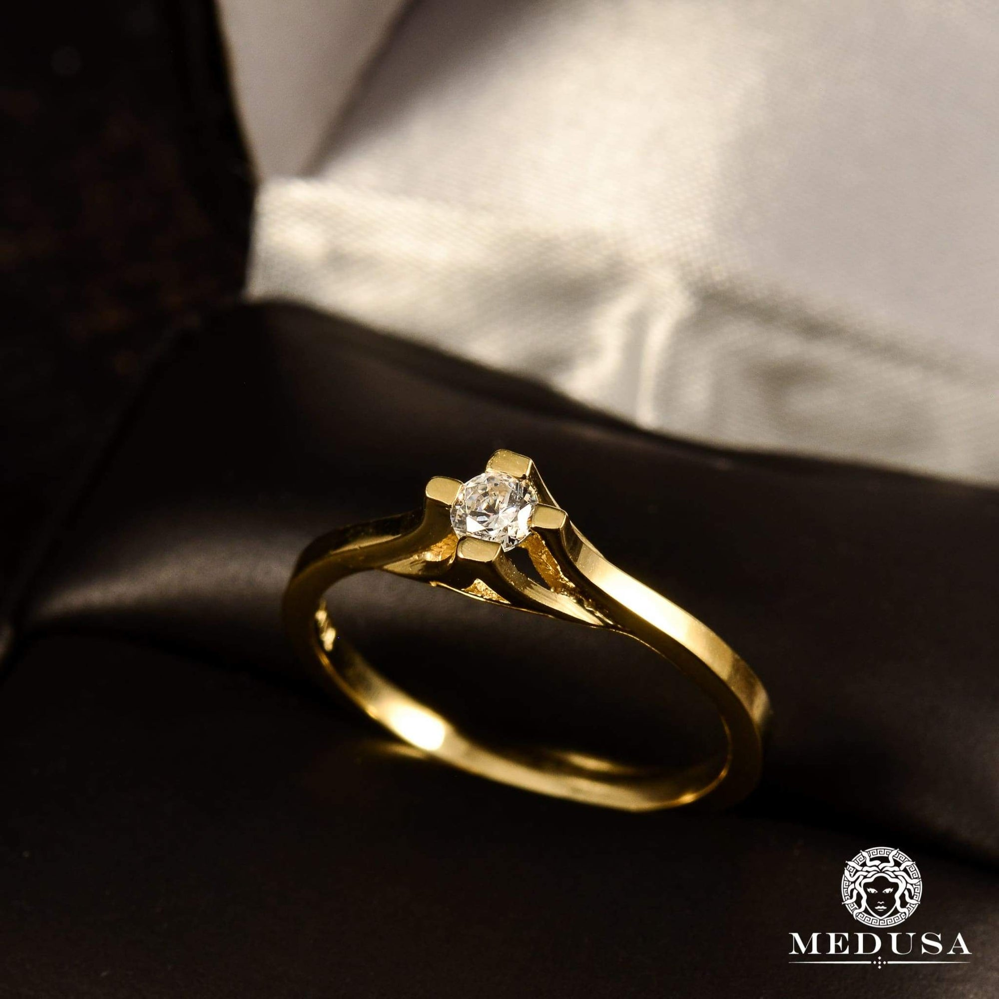 Bague à Diamants en Or 14K | Bague Fiançaille Solitaire F4 - MA0695