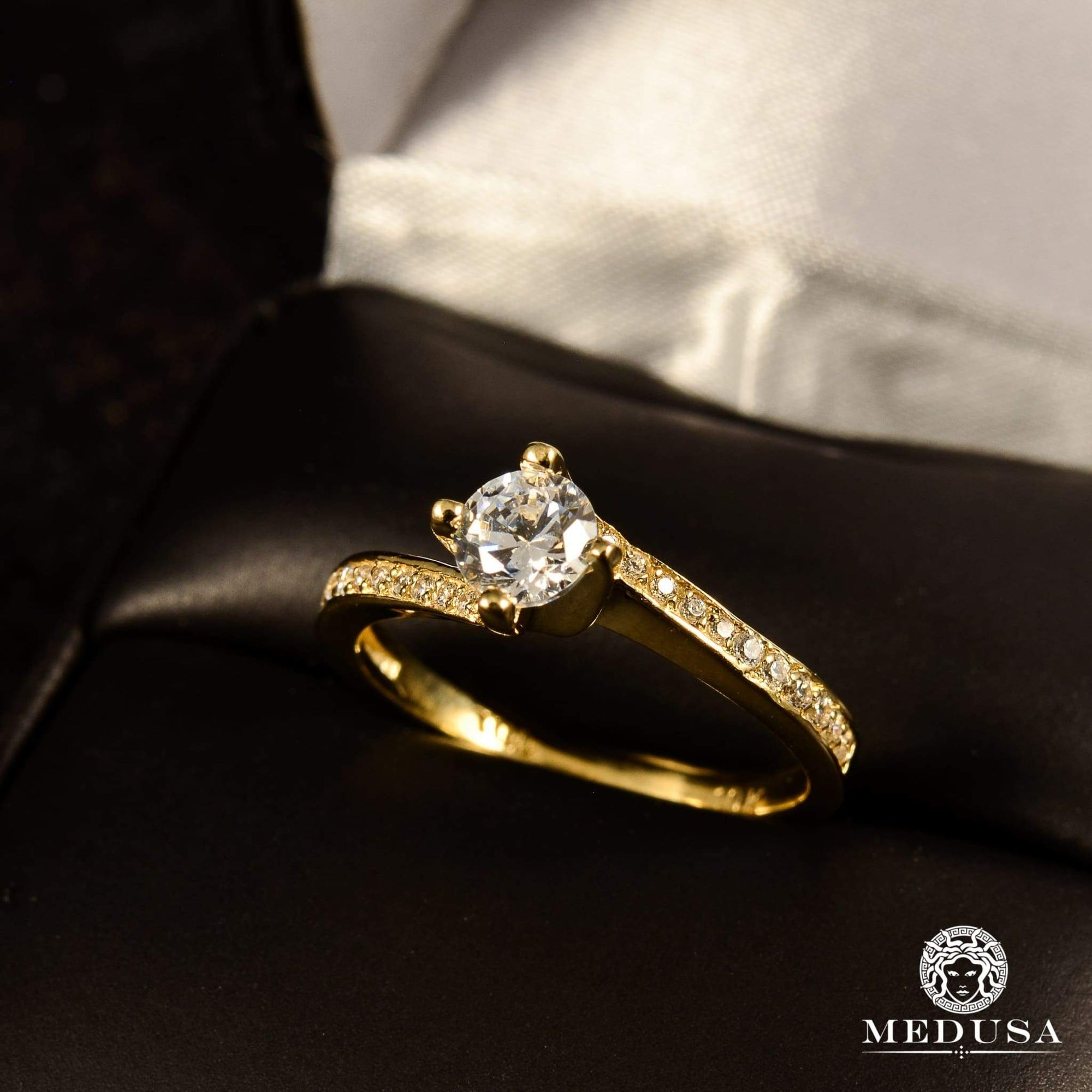 Bague à Diamants en Or 14K | Bague Fiançaille Solitaire F7 - MA0723