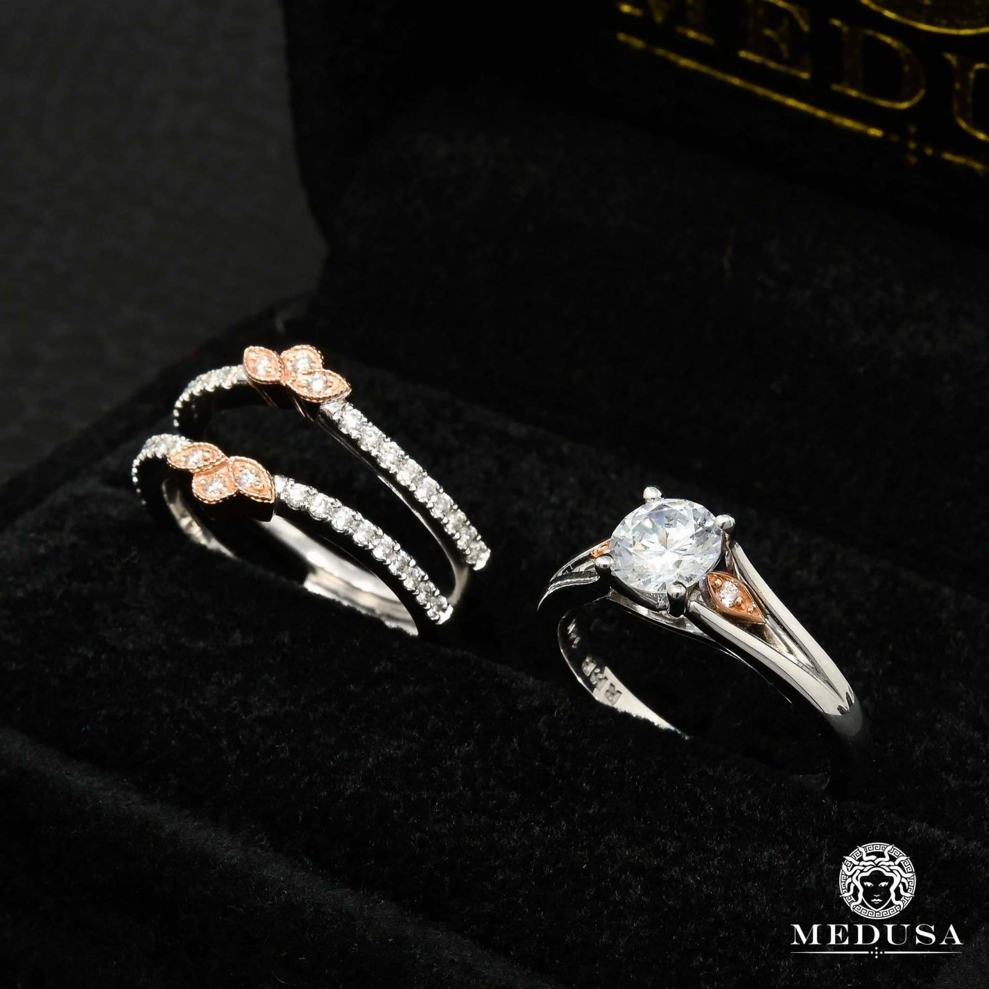 Bague à Diamants en Or 14K | Bague Fiançaille Solitaire Set F1