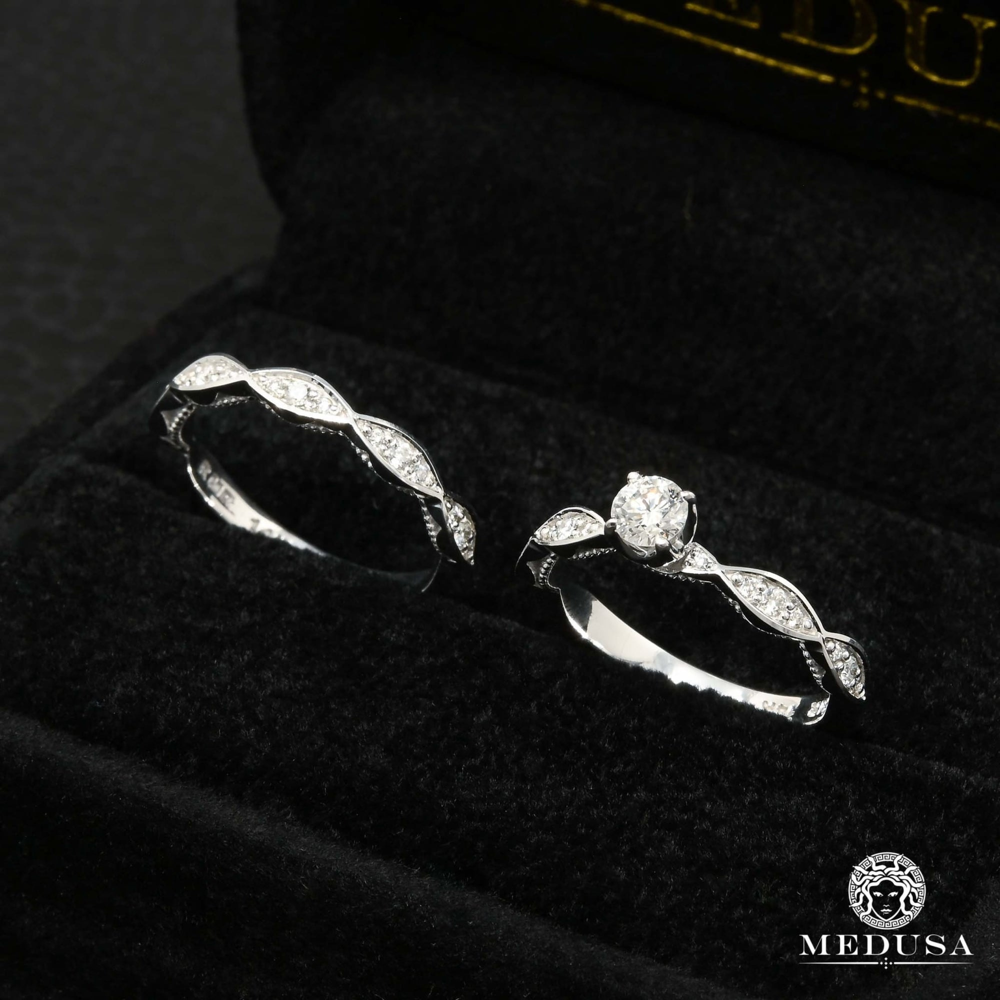 Bague à Diamants en Or 14K | Bague Fiançaille Solitaire Set F2 Set / Or Blanc
