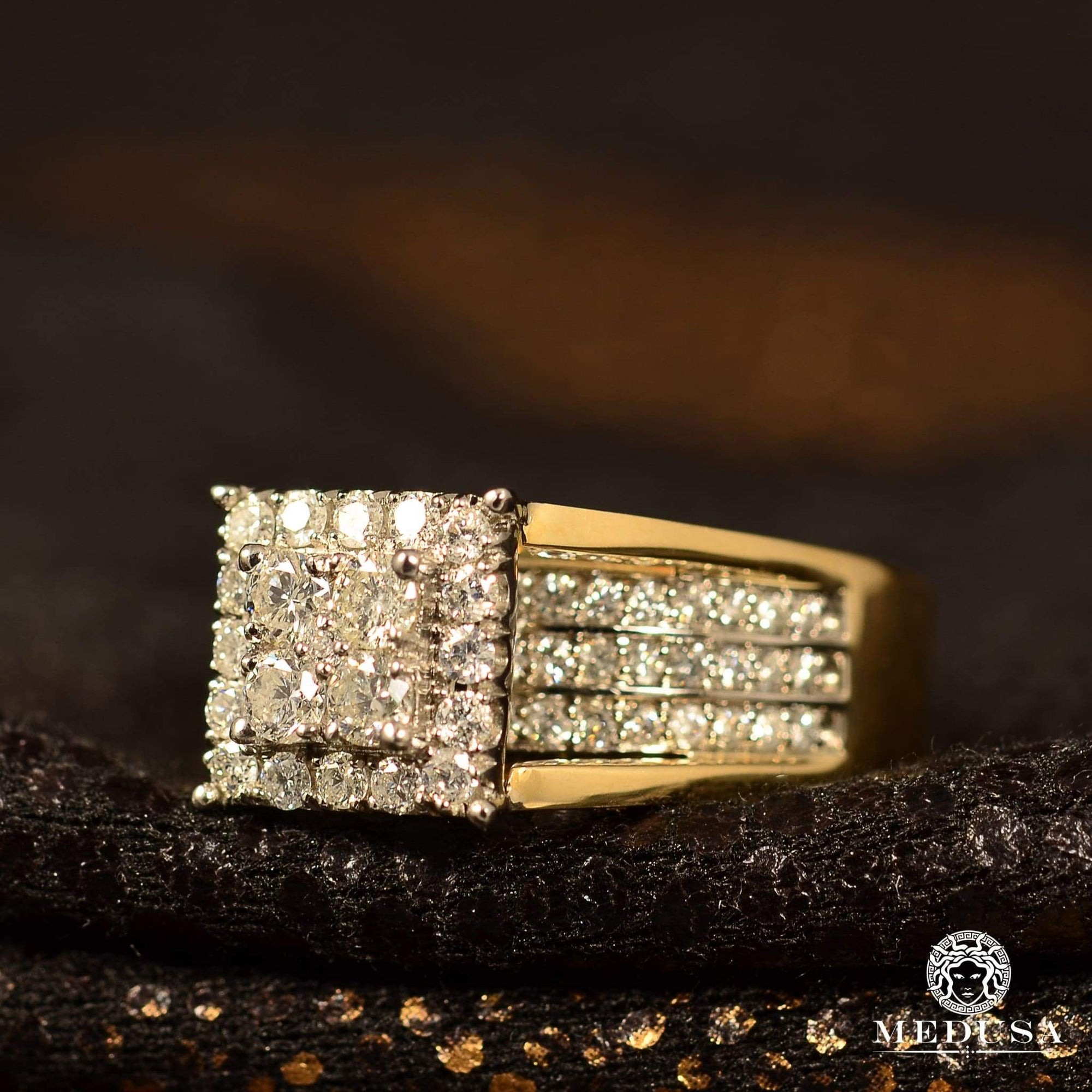 Bague à Diamants en Or 10K | Bague Femme Square F2 - Diamant 1 00CT / Or 2 Tons
