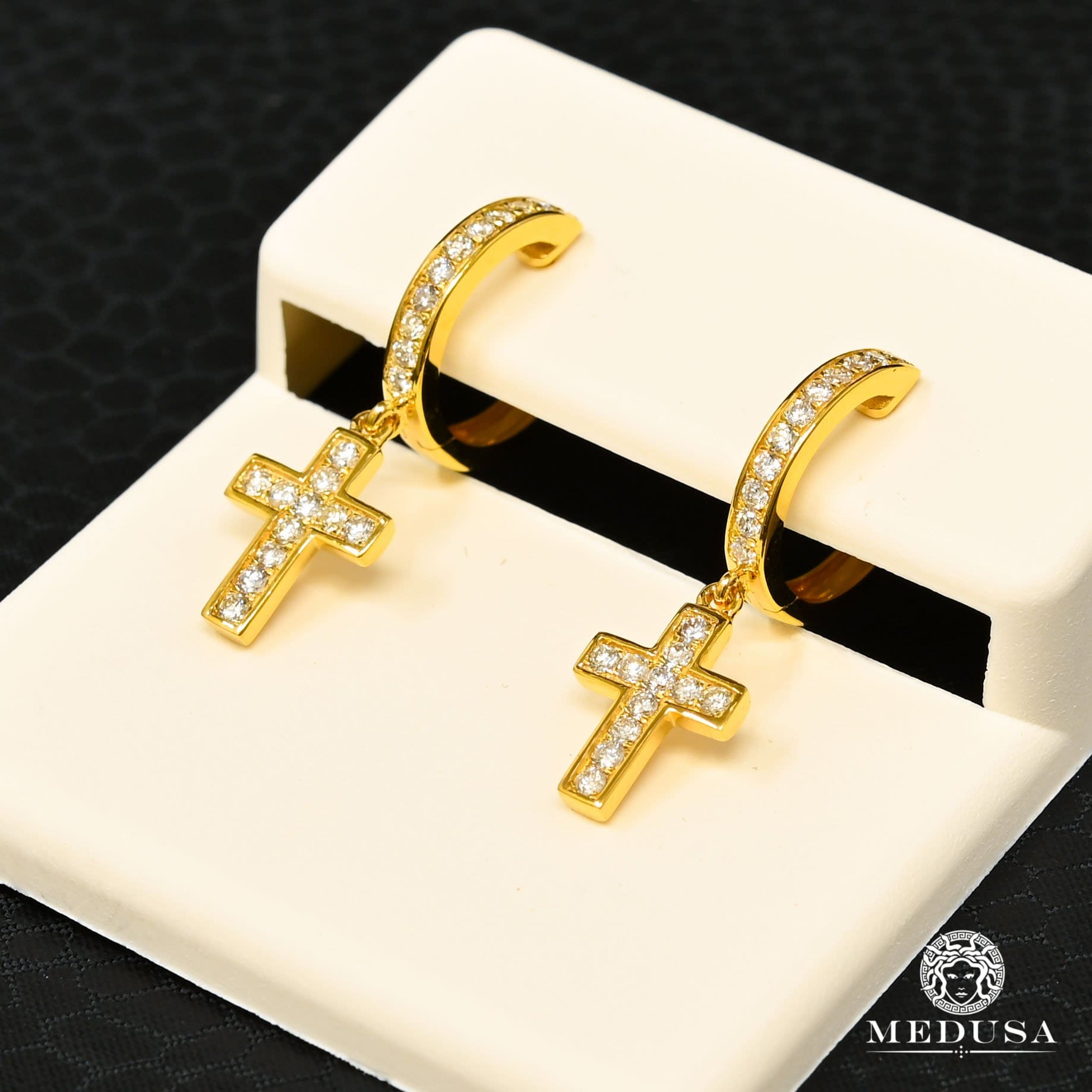 14K Gold Diamond Studs | D12 Studs Earrings - Yellow Gold Diamond