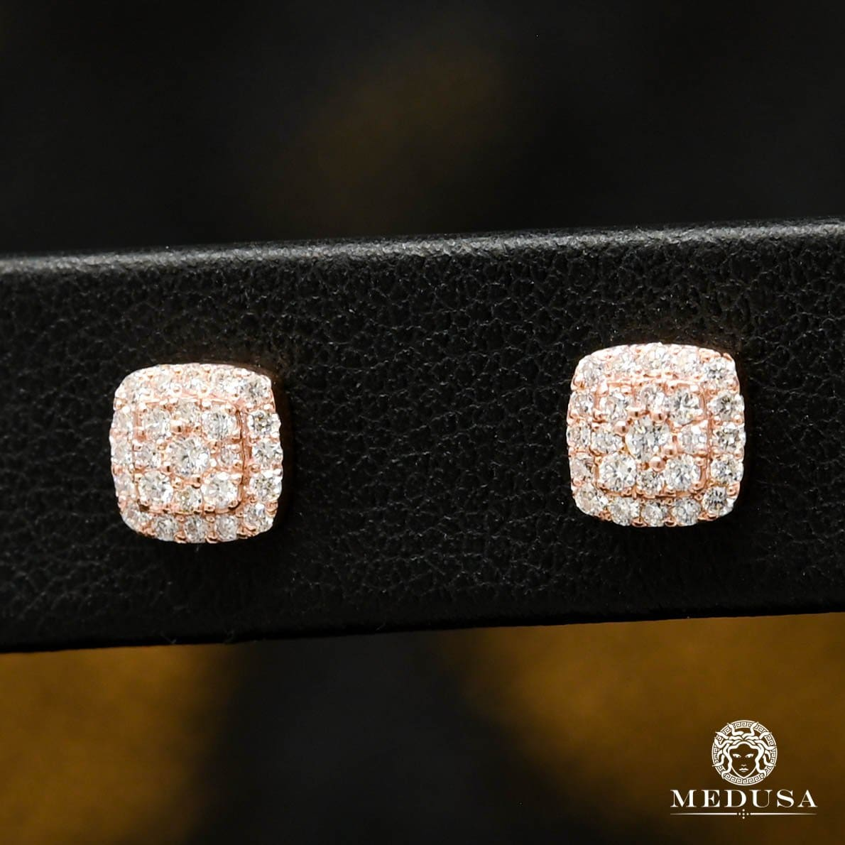 10K Gold Diamond Studs | D20 Studs Earrings - Rose Gold Diamond
