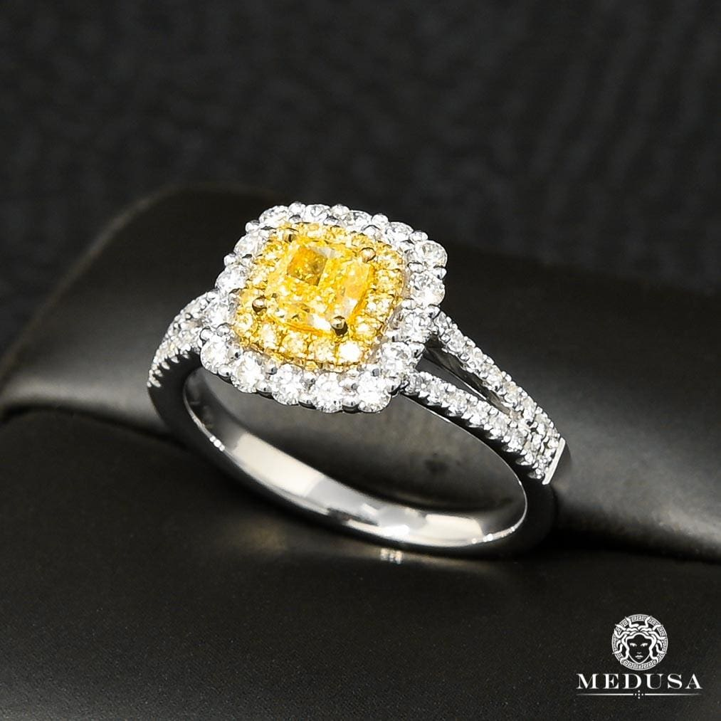 Bague à Diamants en Or 18K | Bague Fiançaille Trinity D12 - Bague Solitaire 62PT Yellow Canary Or Blanc