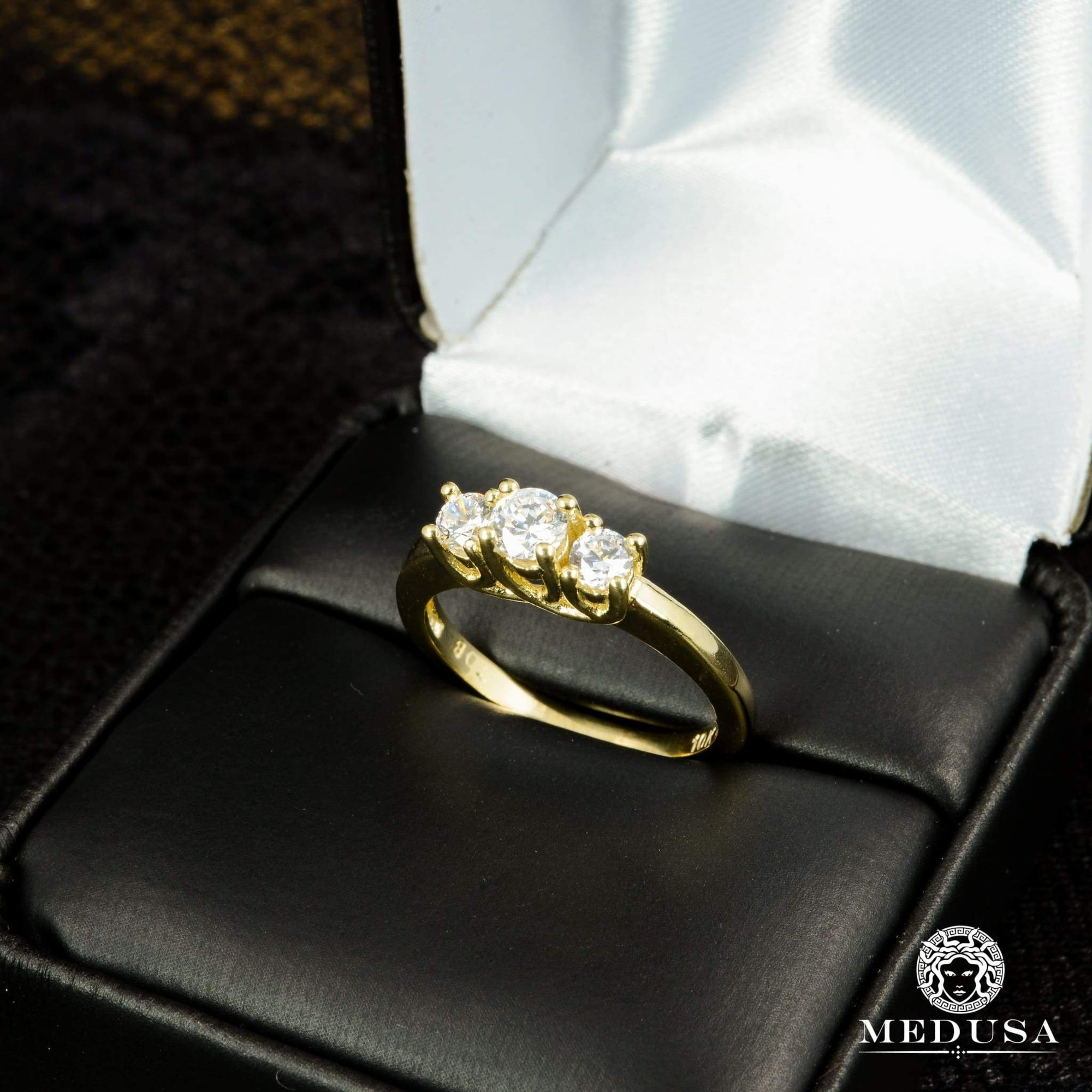 Bague à Diamants en Or 14K | Bague Fiançaille Trinity F9 - MA0696