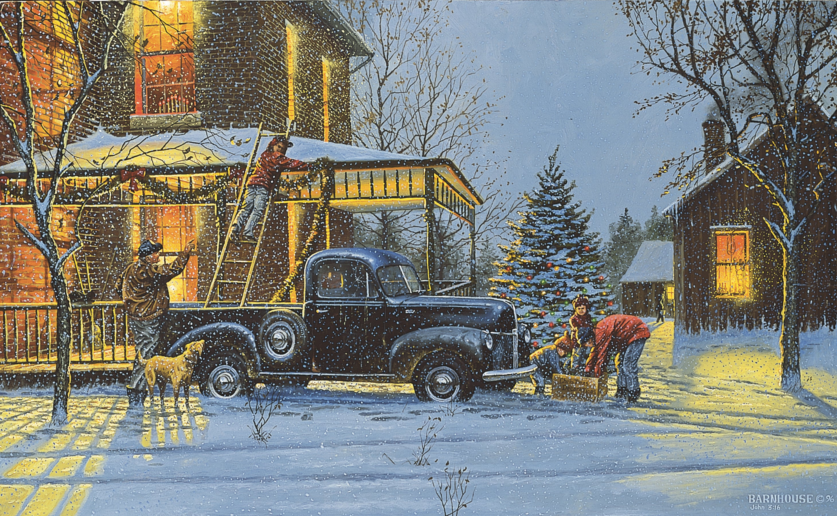 Old Fashioned Christmas - Dave Barnhouse Fine Art