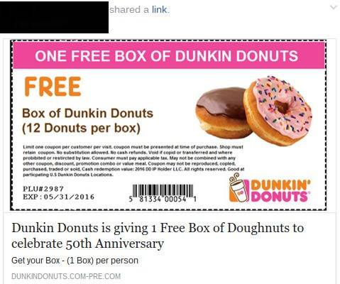 Dunkin Donuts Coupons Online