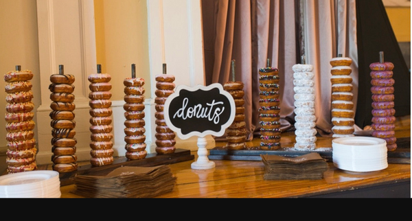 donut stand at wedding