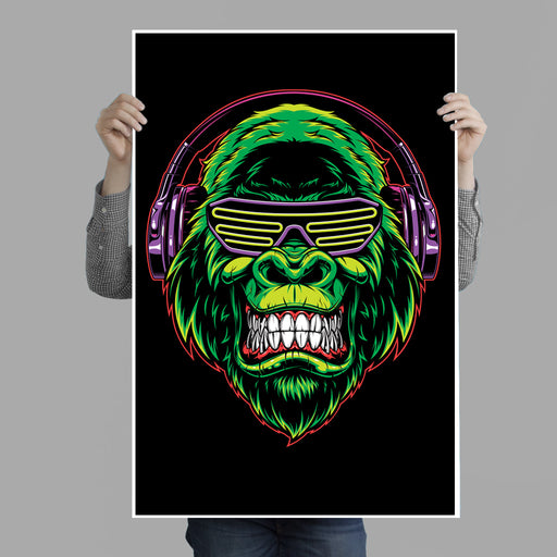 Green Gorilla with Headphones Poster Print