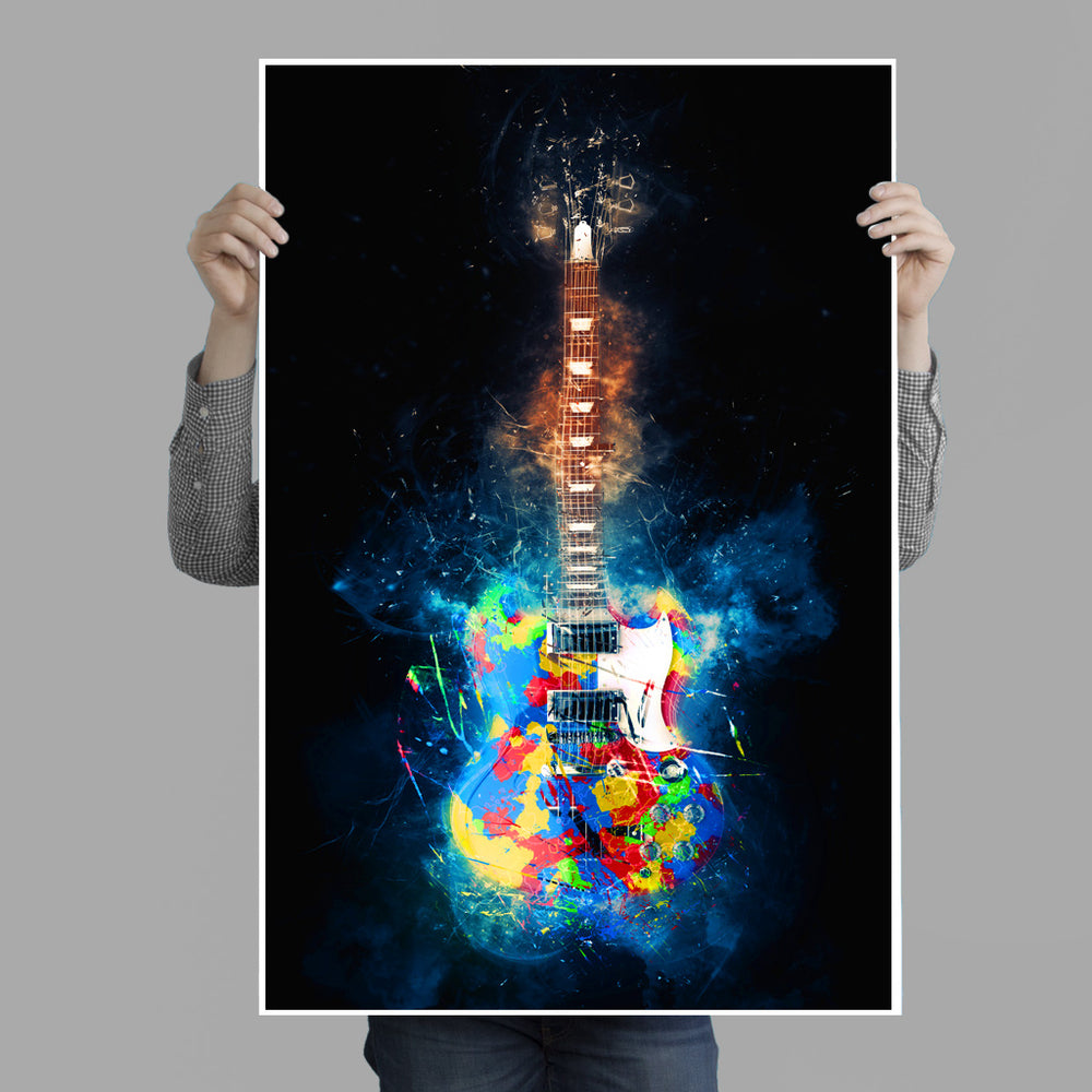 Colorful Guitar Explosion Poster Print