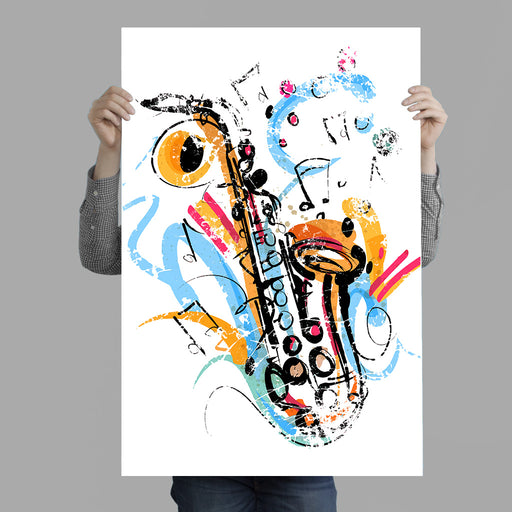 Saxophone Jazzy Illustration Poster Print